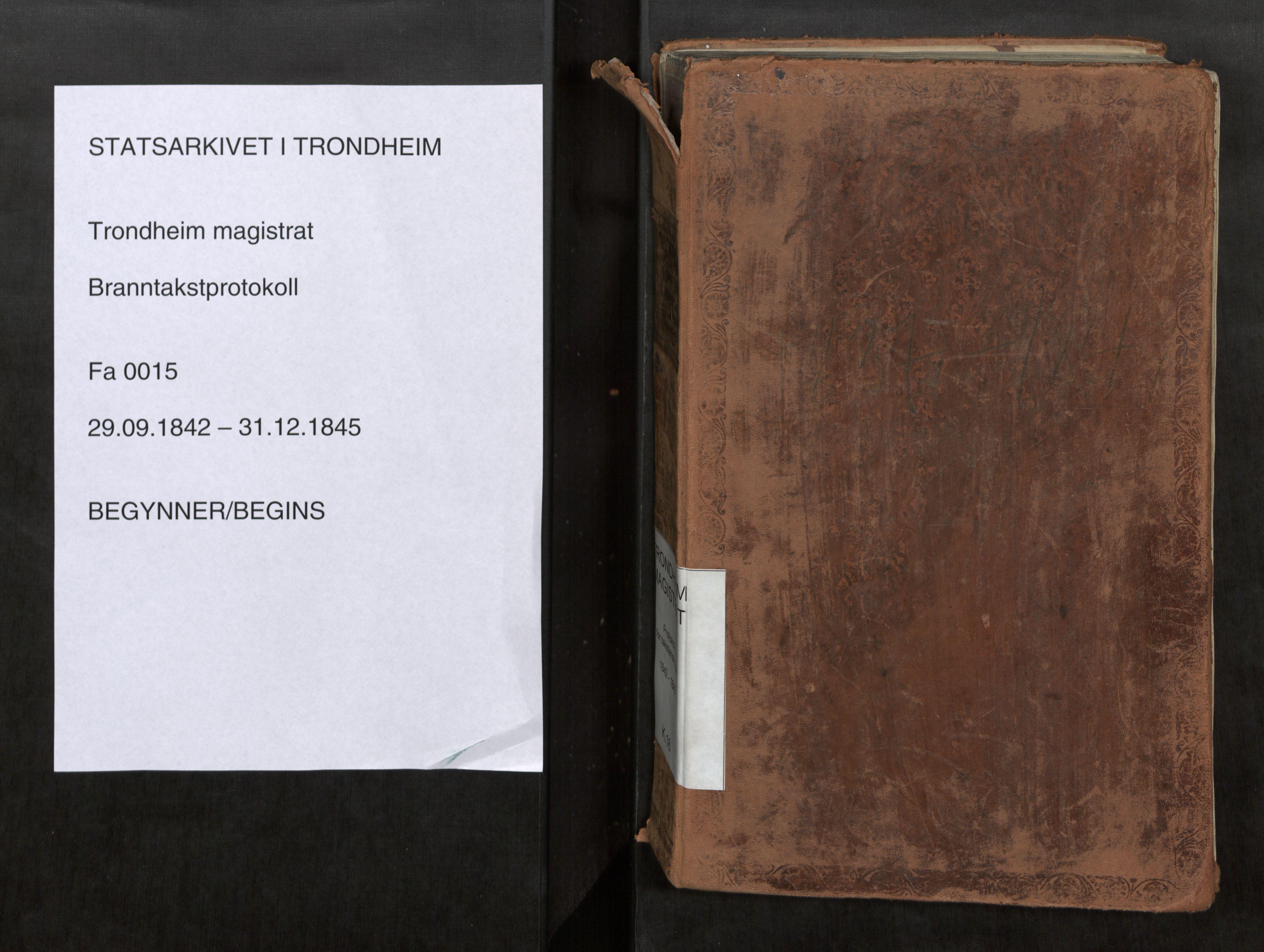 SAT, Norges Brannkasse Trondheim magistrat, Branntakstprotokoller med tekst, nr. 15: 1842-1845, 1842-1845