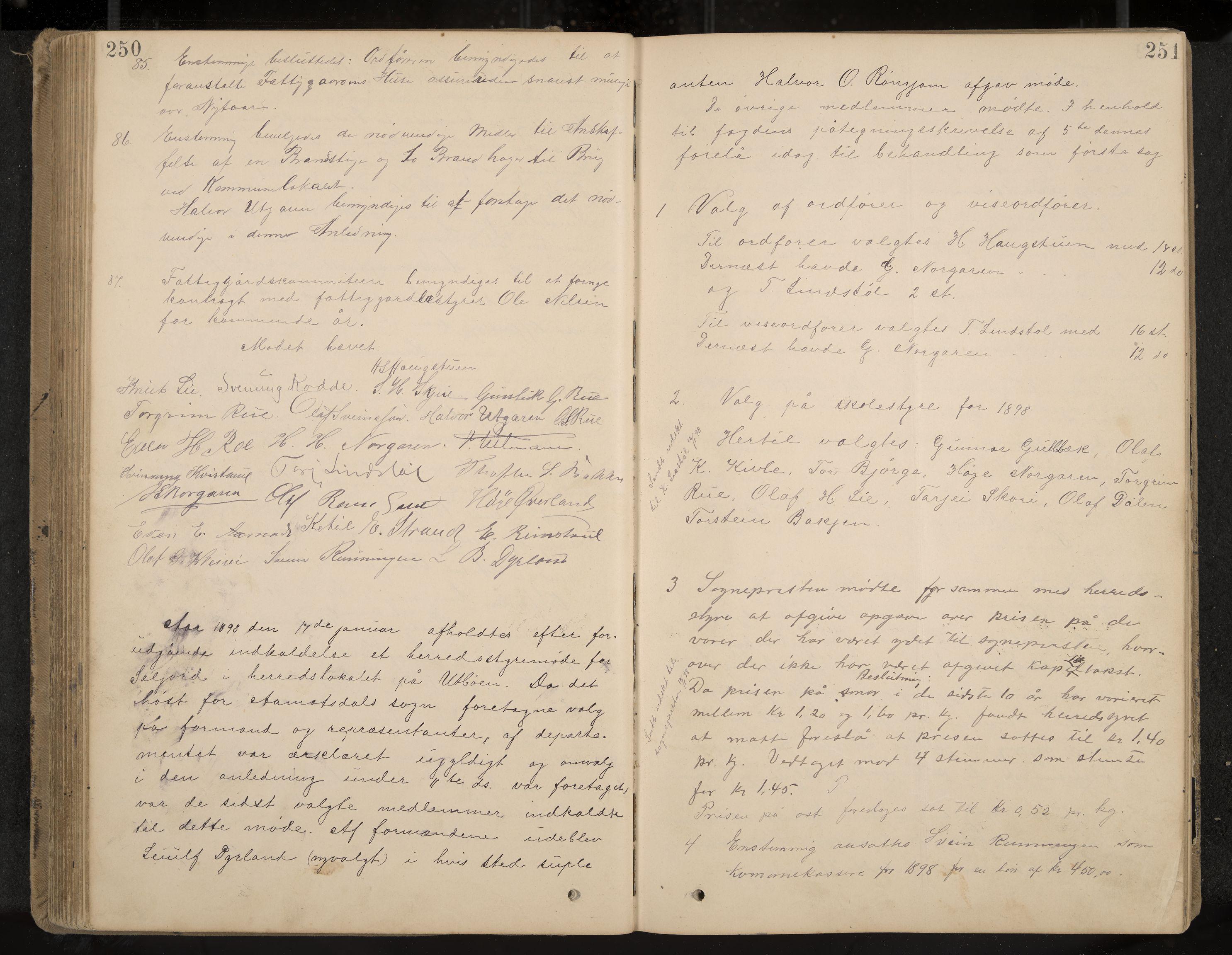 IKAK, Seljord formannskap og sentraladministrasjon, A/Aa/L0003: Møtebok med register, 1891-1905, s. 250-251