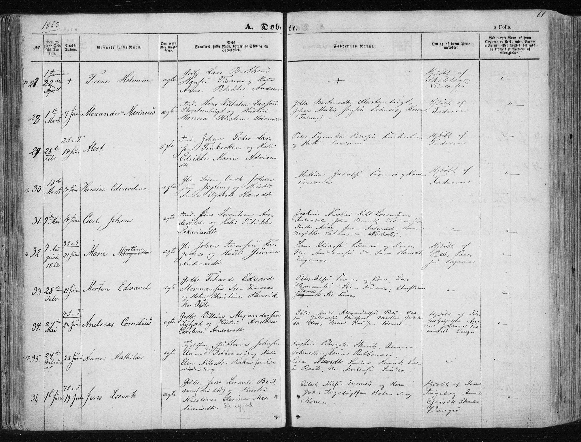 SATØ, Tromsøysund sokneprestkontor, G/Ga/L0001kirke: Ministerialbok nr. 1, 1856-1867, s. 61