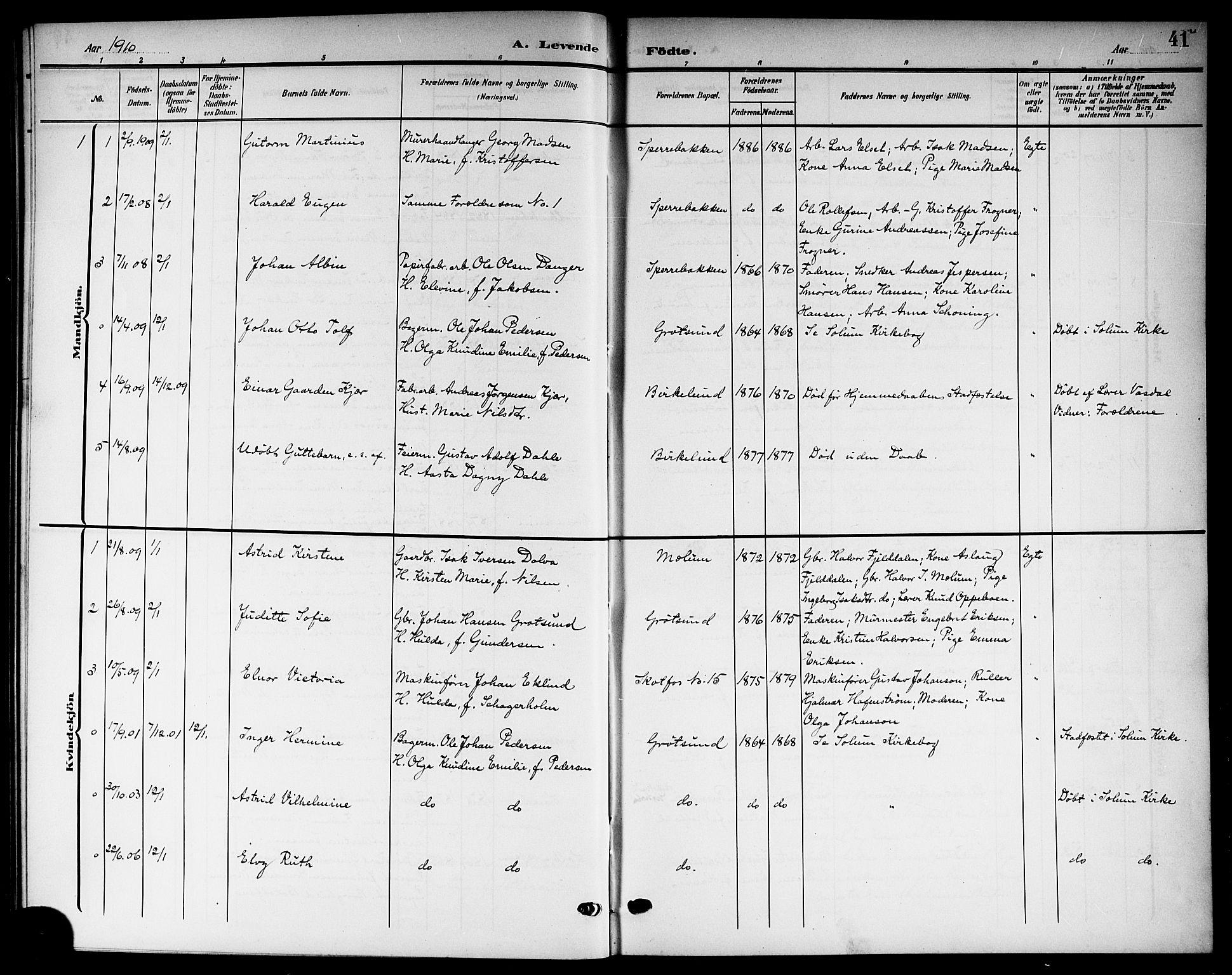 SAKO, Solum kirkebøker, G/Gb/L0005: Klokkerbok nr. II 5, 1905-1914, s. 41