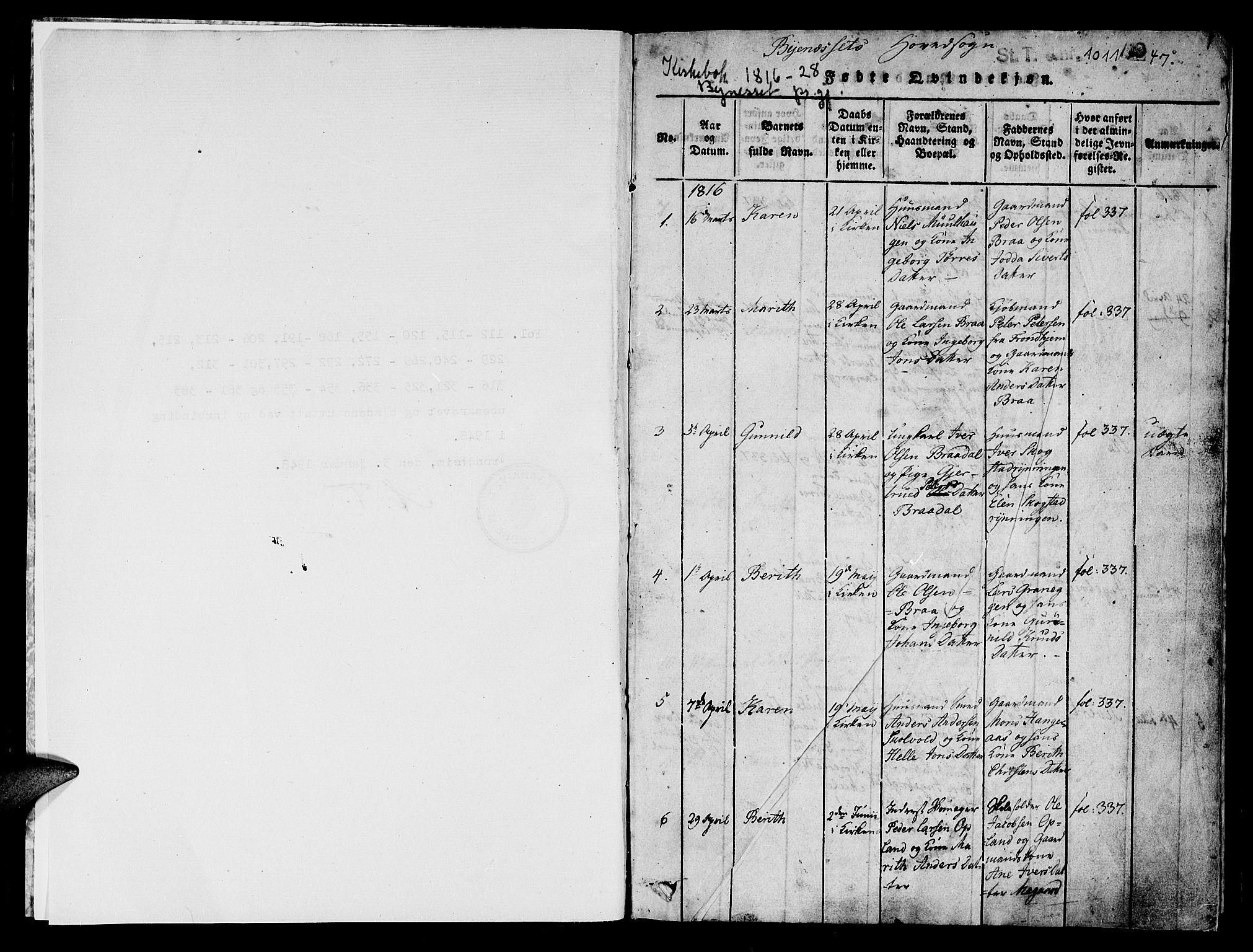 SAT, Ministerialprotokoller, klokkerbøker og fødselsregistre - Sør-Trøndelag, 612/L0372: Ministerialbok nr. 612A06 /1, 1816-1828, s. 1