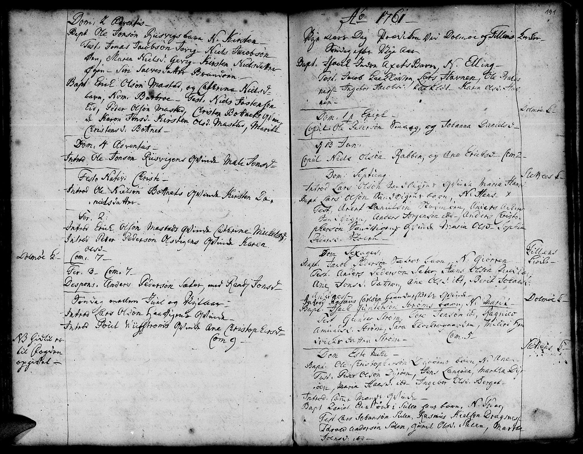 SAT, Ministerialprotokoller, klokkerbøker og fødselsregistre - Sør-Trøndelag, 634/L0525: Ministerialbok nr. 634A01, 1736-1775, s. 191