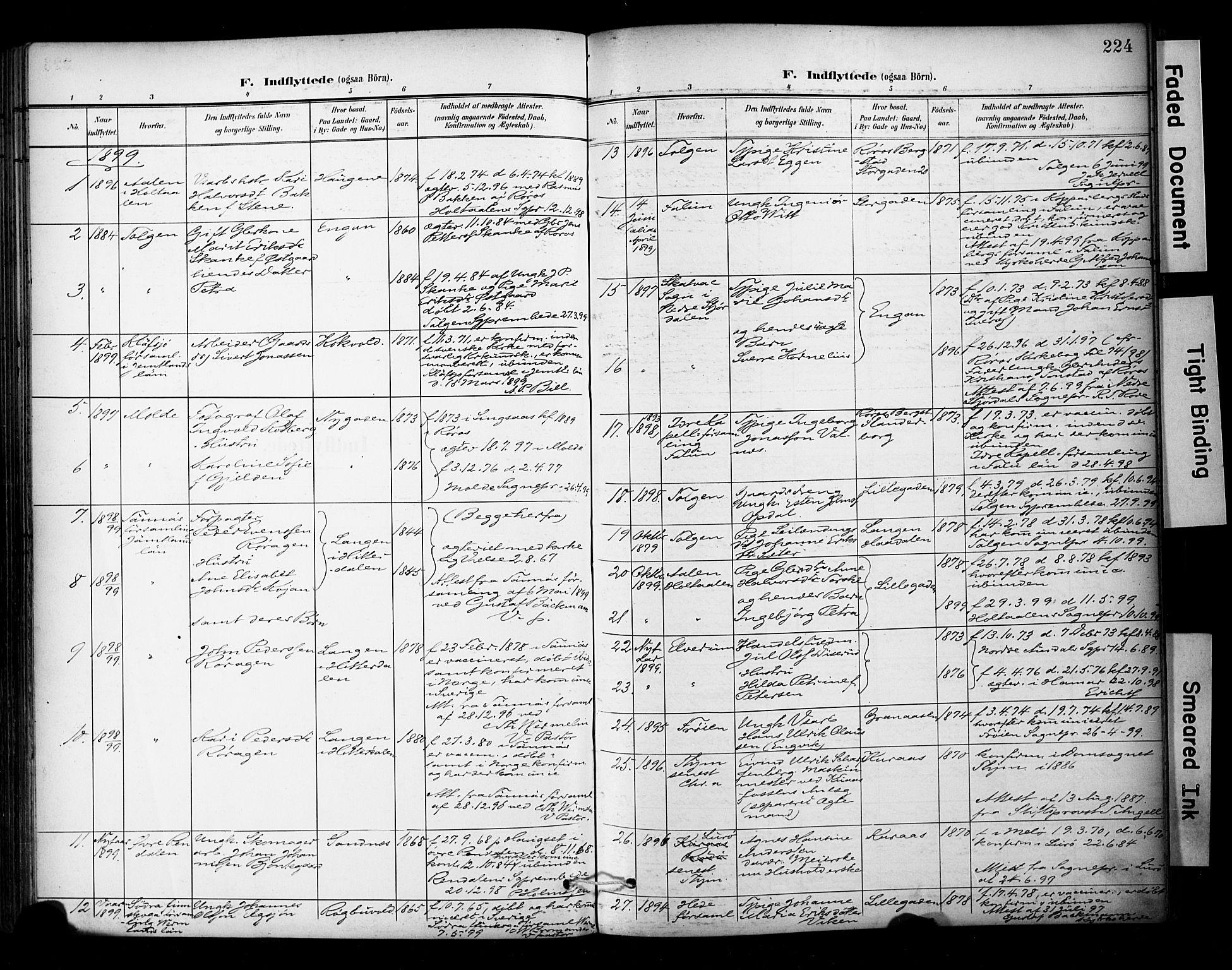 SAT, Ministerialprotokoller, klokkerbøker og fødselsregistre - Sør-Trøndelag, 681/L0936: Ministerialbok nr. 681A14, 1899-1908, s. 224