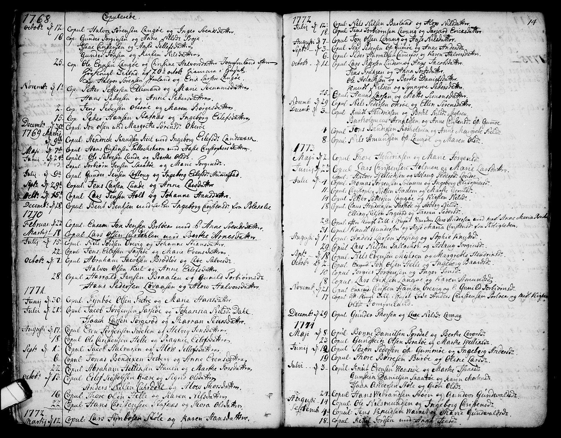 SAKO, Sannidal kirkebøker, F/Fa/L0002: Ministerialbok nr. 2, 1767-1802, s. 14