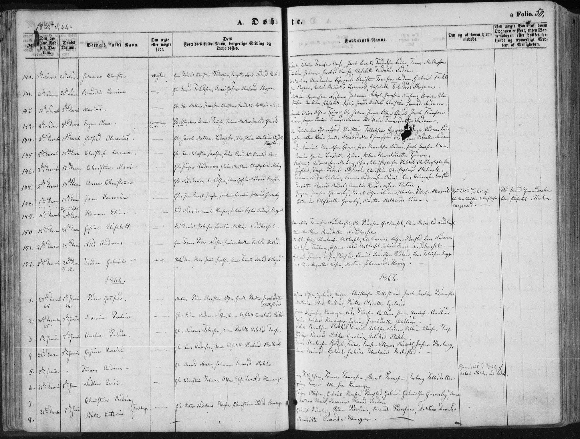 SAK, Lista sokneprestkontor, F/Fa/L0011: Ministerialbok nr. A 11, 1861-1878, s. 50