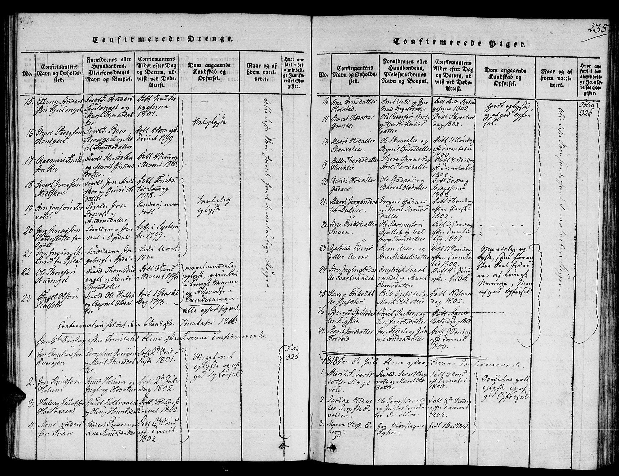 SAT, Ministerialprotokoller, klokkerbøker og fødselsregistre - Sør-Trøndelag, 672/L0853: Ministerialbok nr. 672A06 /1, 1816-1829, s. 235