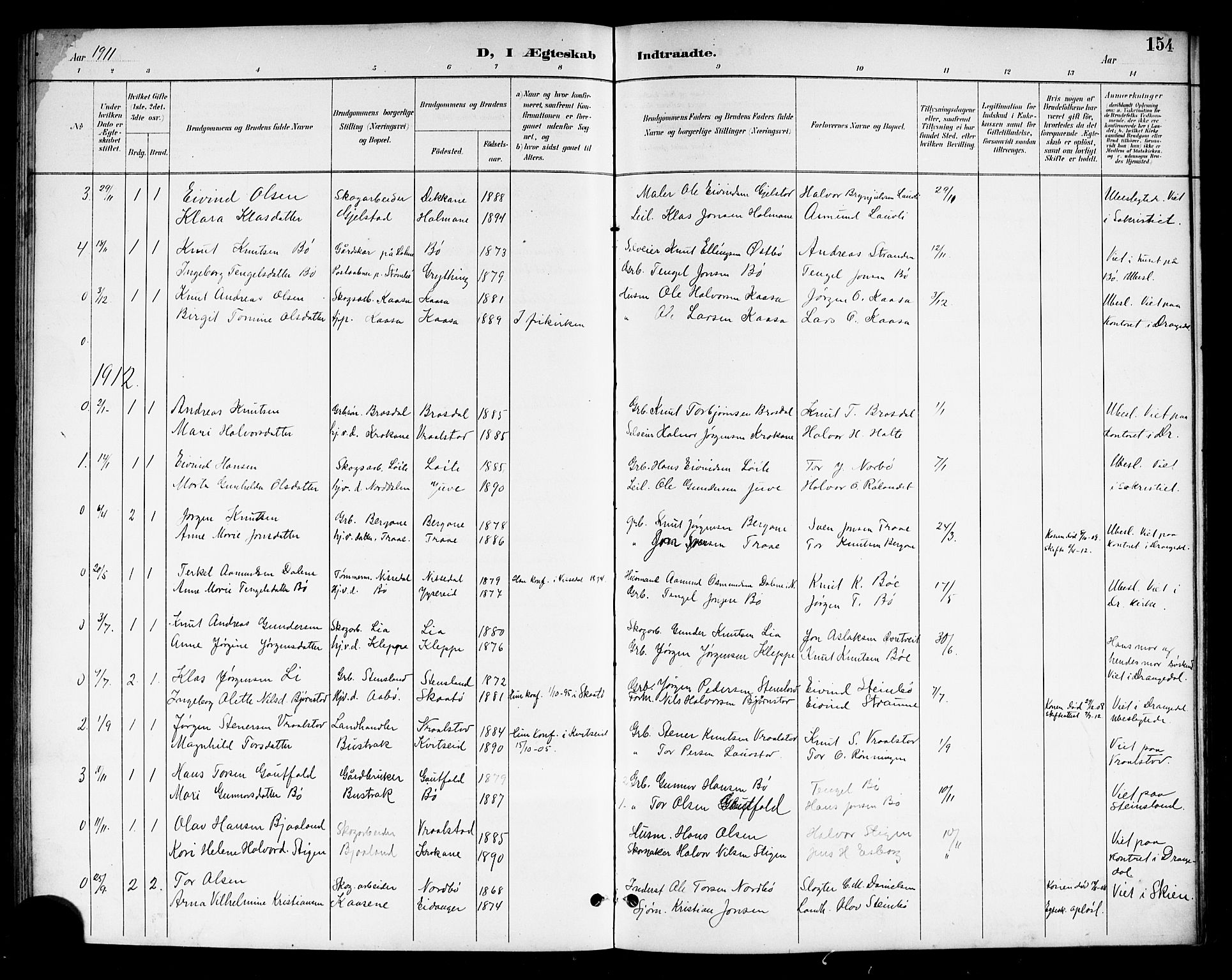 SAKO, Drangedal kirkebøker, G/Gb/L0002: Klokkerbok nr. II 2, 1895-1918, s. 154