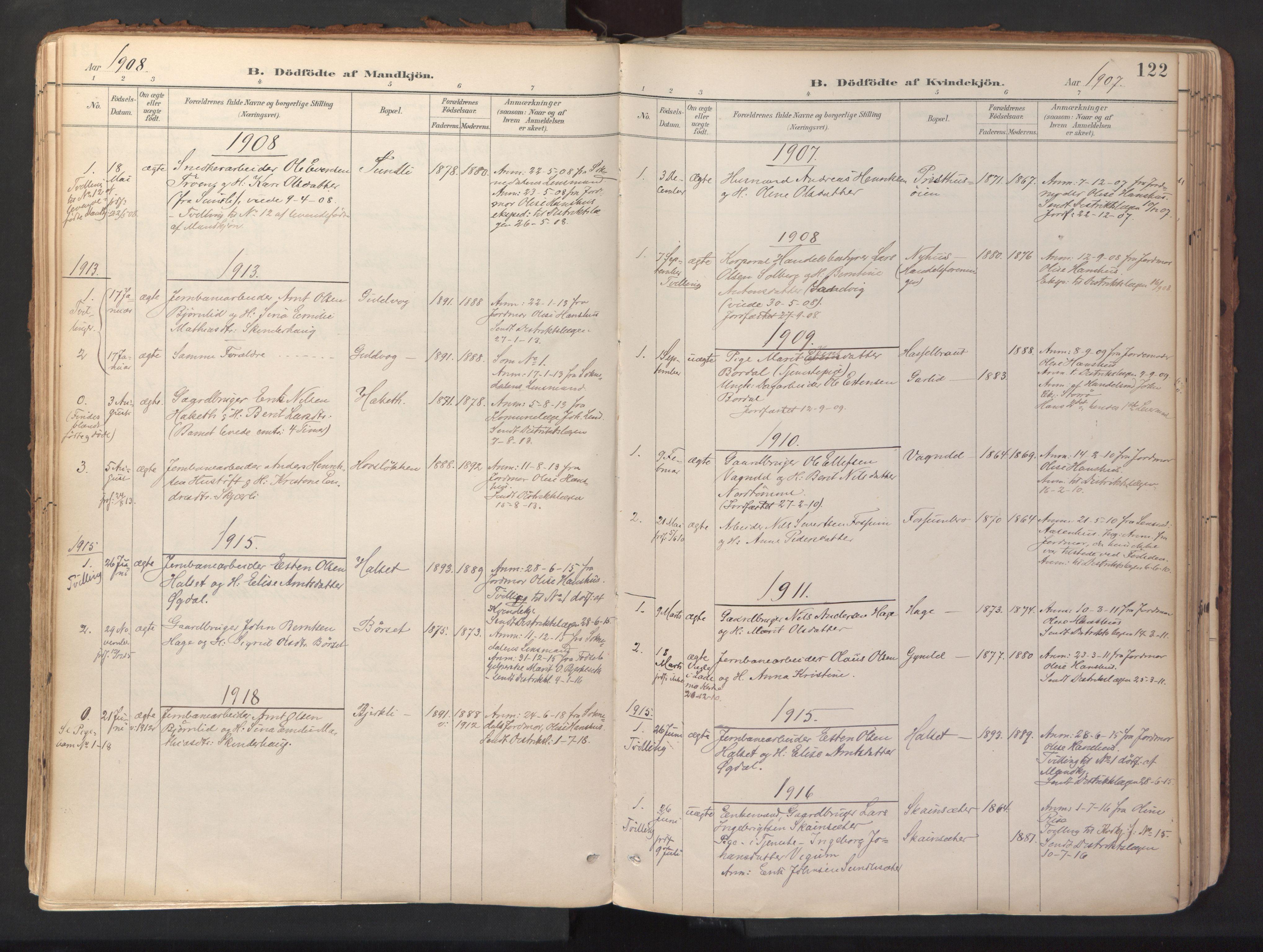 SAT, Ministerialprotokoller, klokkerbøker og fødselsregistre - Sør-Trøndelag, 689/L1041: Ministerialbok nr. 689A06, 1891-1923, s. 122