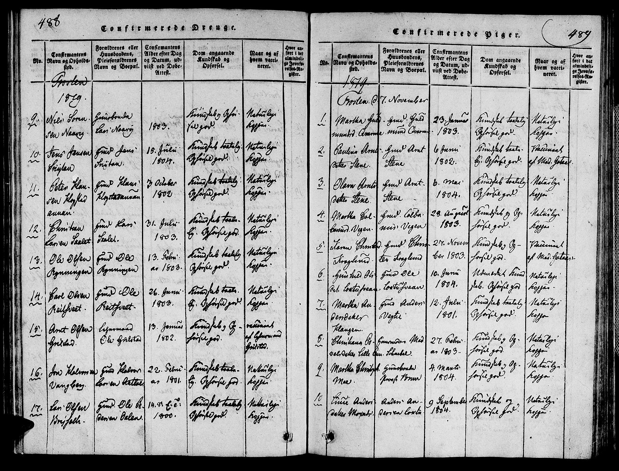 SAT, Ministerialprotokoller, klokkerbøker og fødselsregistre - Nord-Trøndelag, 713/L0112: Ministerialbok nr. 713A04 /1, 1817-1827, s. 488-489