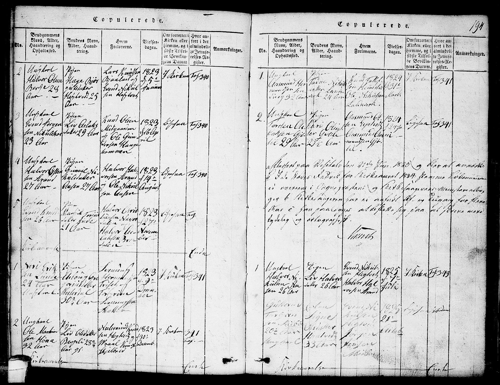 SAKO, Lårdal kirkebøker, G/Ga/L0001: Klokkerbok nr. I 1, 1815-1861, s. 194