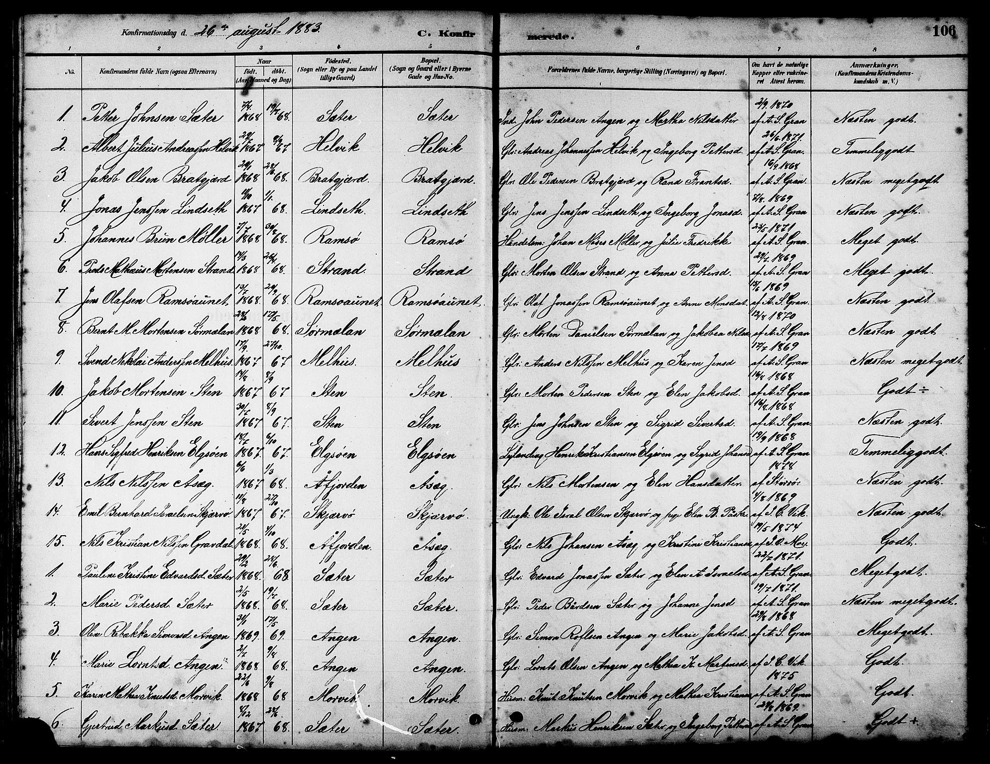 SAT, Ministerialprotokoller, klokkerbøker og fødselsregistre - Sør-Trøndelag, 658/L0726: Klokkerbok nr. 658C02, 1883-1908, s. 106