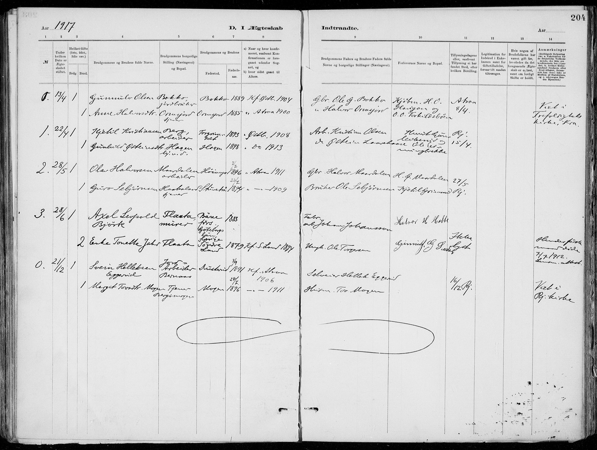 SAKO, Tinn kirkebøker, F/Fa/L0007: Ministerialbok nr. I 7, 1878-1922, s. 204