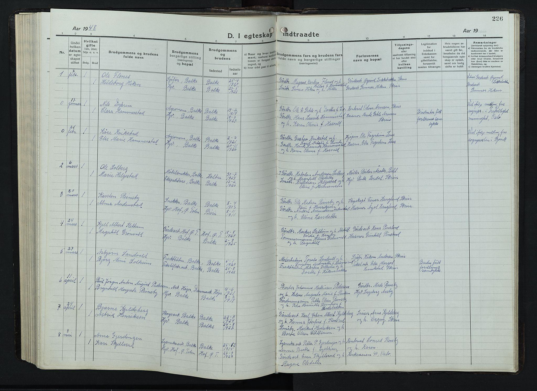 SAH, Balke prestekontor, Klokkerbok nr. 1, 1920-1955, s. 226