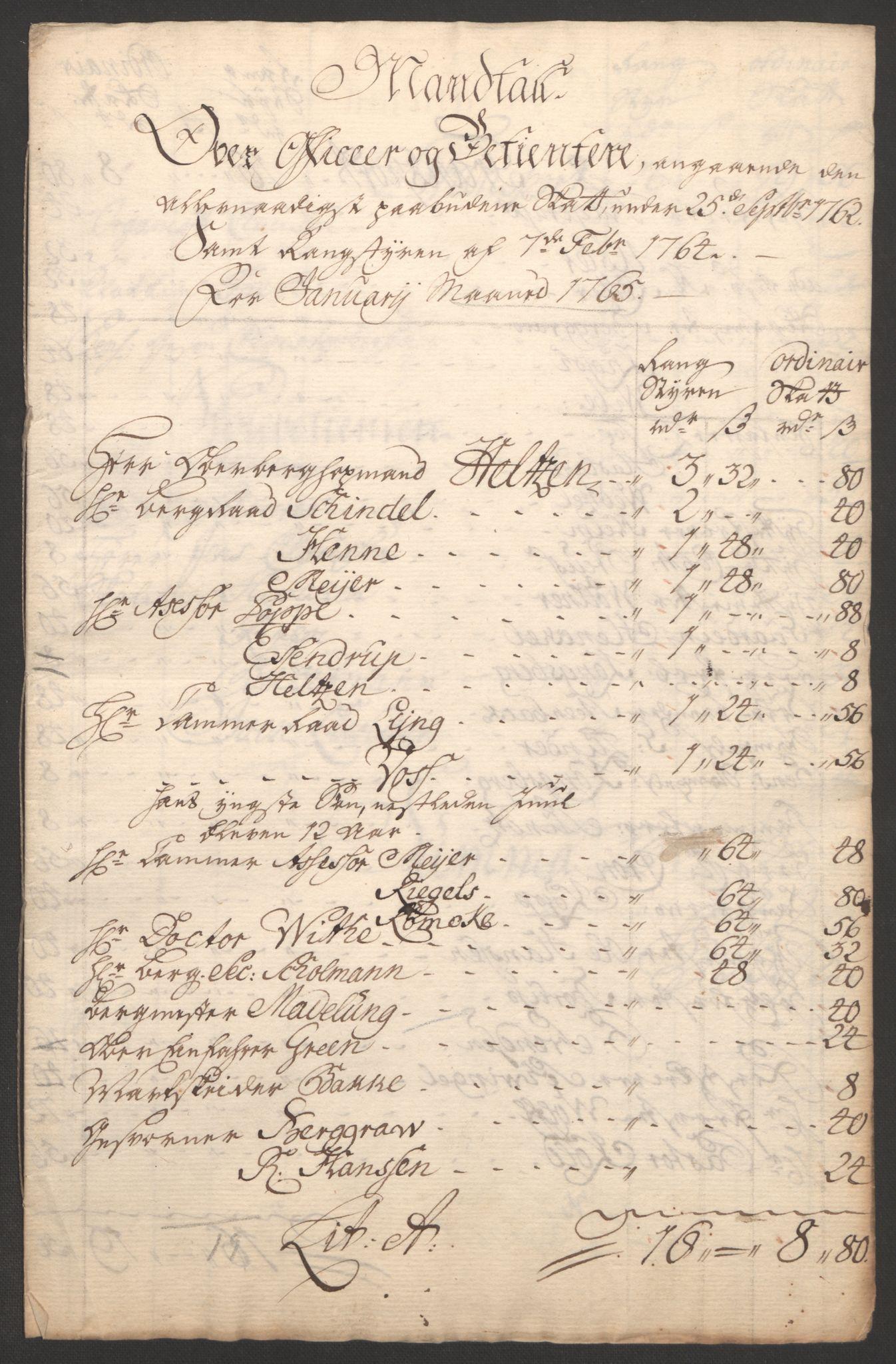 RA, Rentekammeret inntil 1814, Reviderte regnskaper, Bergverksregnskaper, R/Rc/Rca/L0843: Ekstraskatt, 1762-1765, s. 860