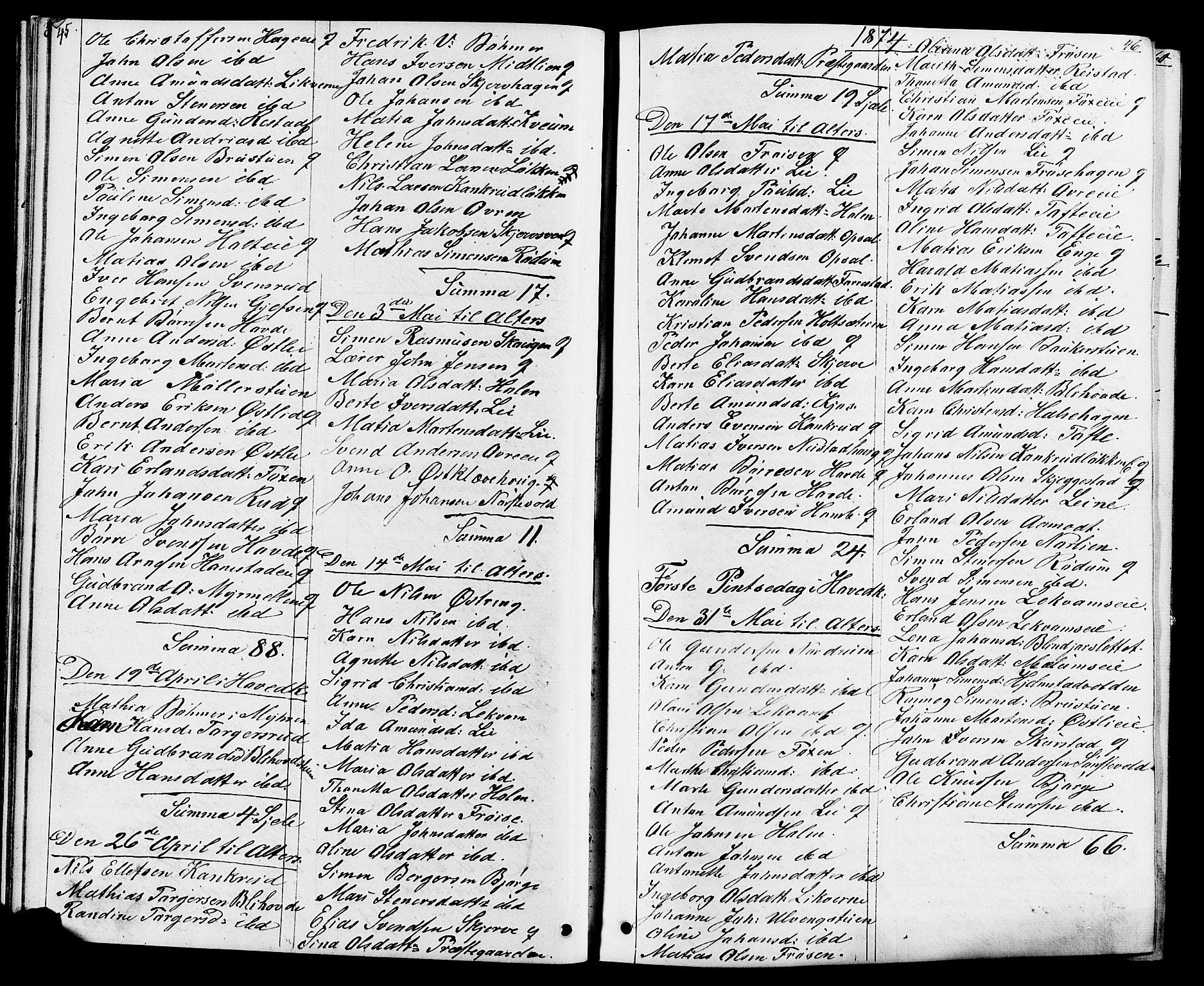SAH, Østre Gausdal prestekontor, Klokkerbok nr. 1, 1863-1893, s. 45-46