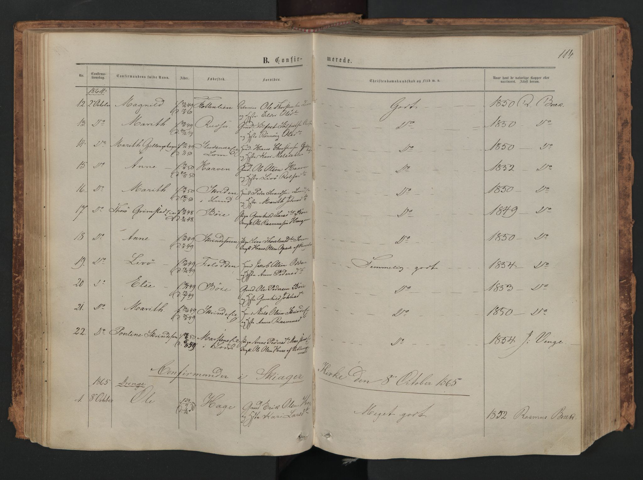 SAH, Skjåk prestekontor, Ministerialbok nr. 1, 1863-1879, s. 114