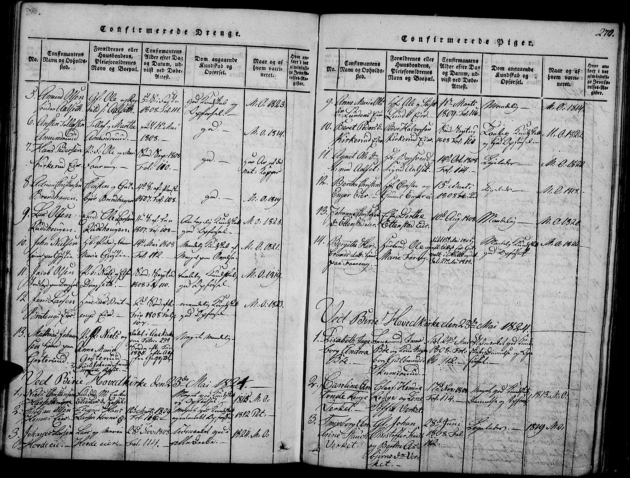 SAH, Biri prestekontor, Ministerialbok nr. 3, 1814-1828, s. 270