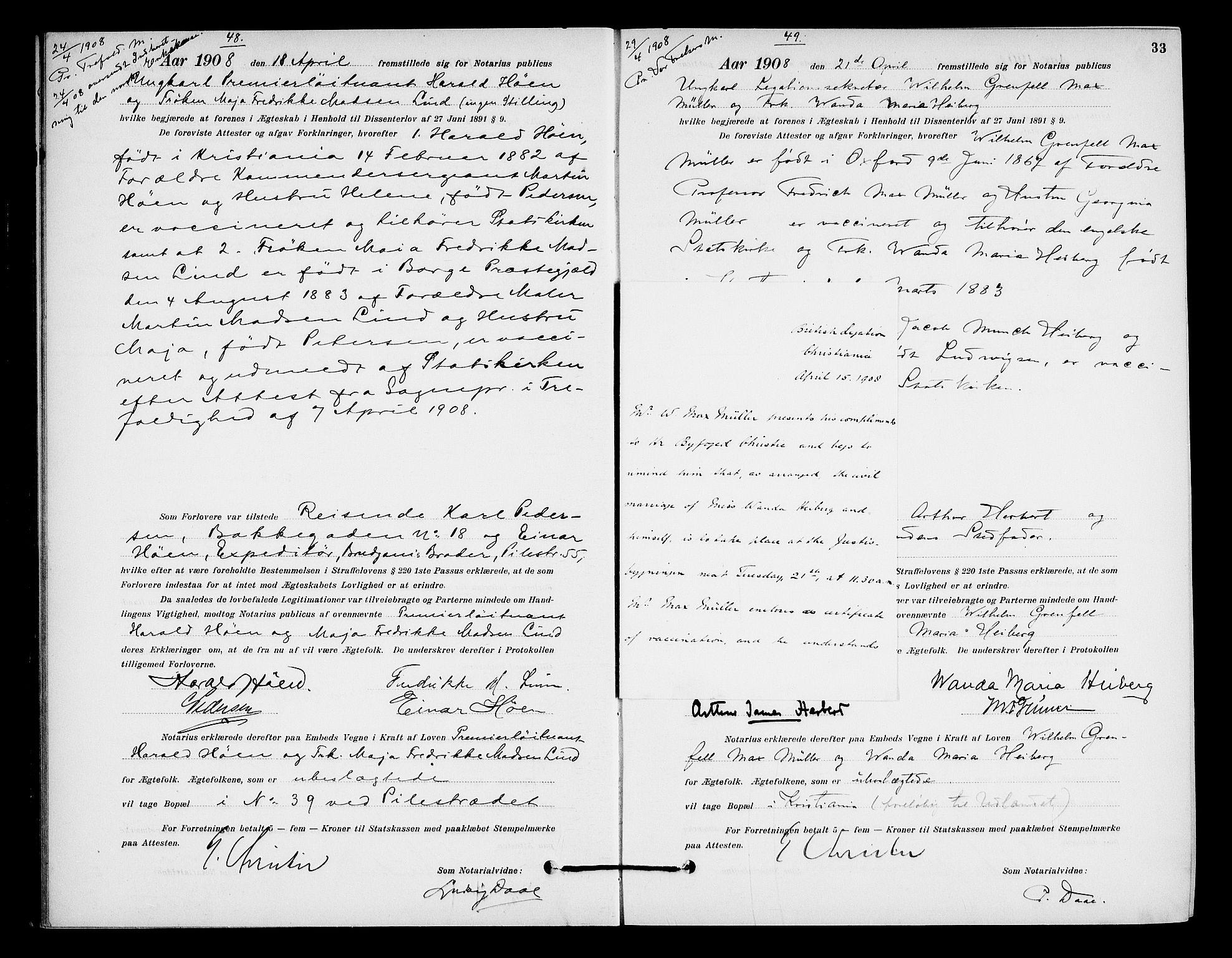 SAO, Oslo byfogd avd. I, L/Lb/Lbb/L0007: Notarialprotokoll, rekke II: Vigsler, 1907-1911, s. 32b-33a