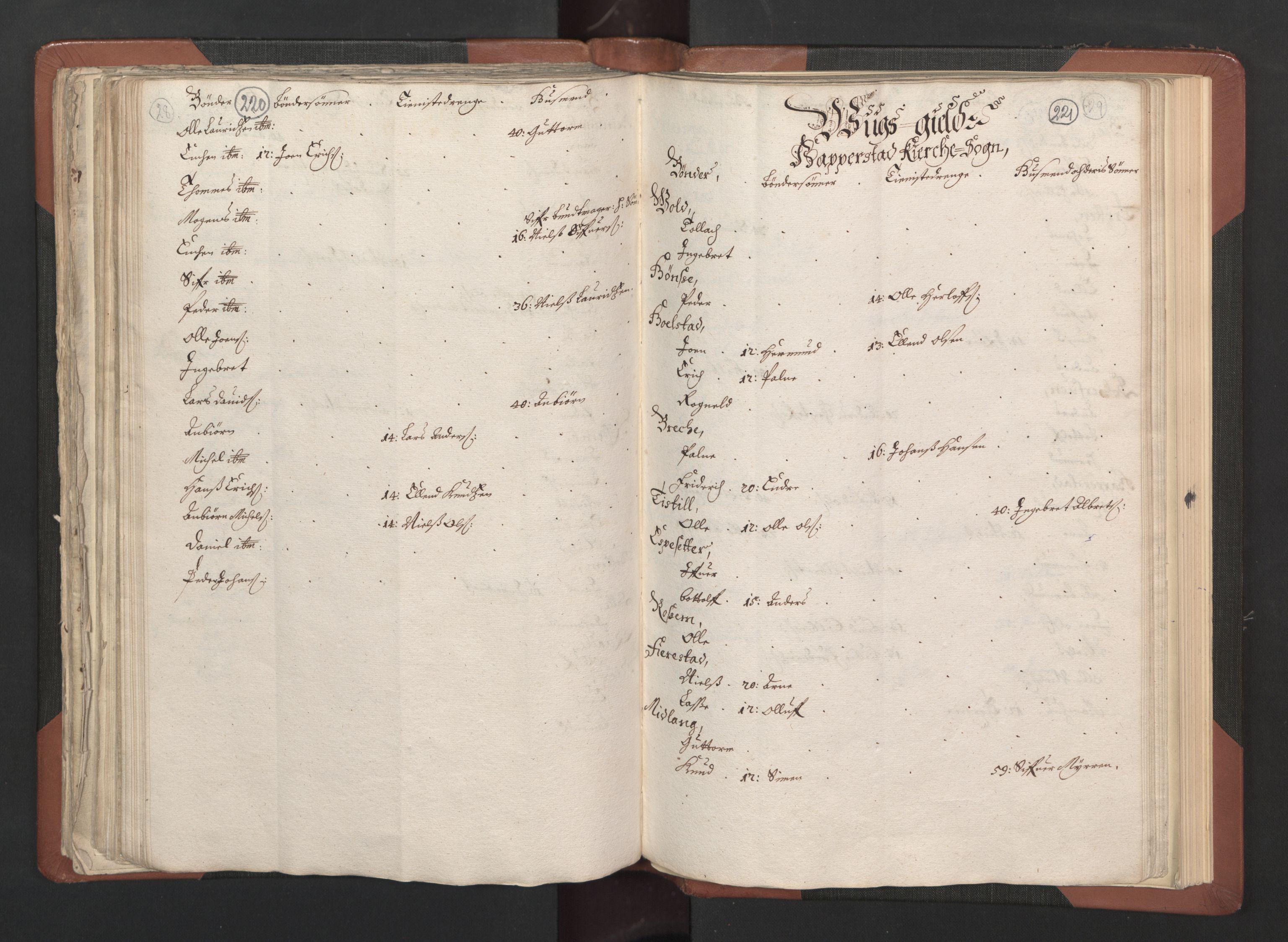 RA, Fogdenes og sorenskrivernes manntall 1664-1666, nr. 14: Hardanger len, Ytre Sogn fogderi og Indre Sogn fogderi, 1664-1665, s. 220-221