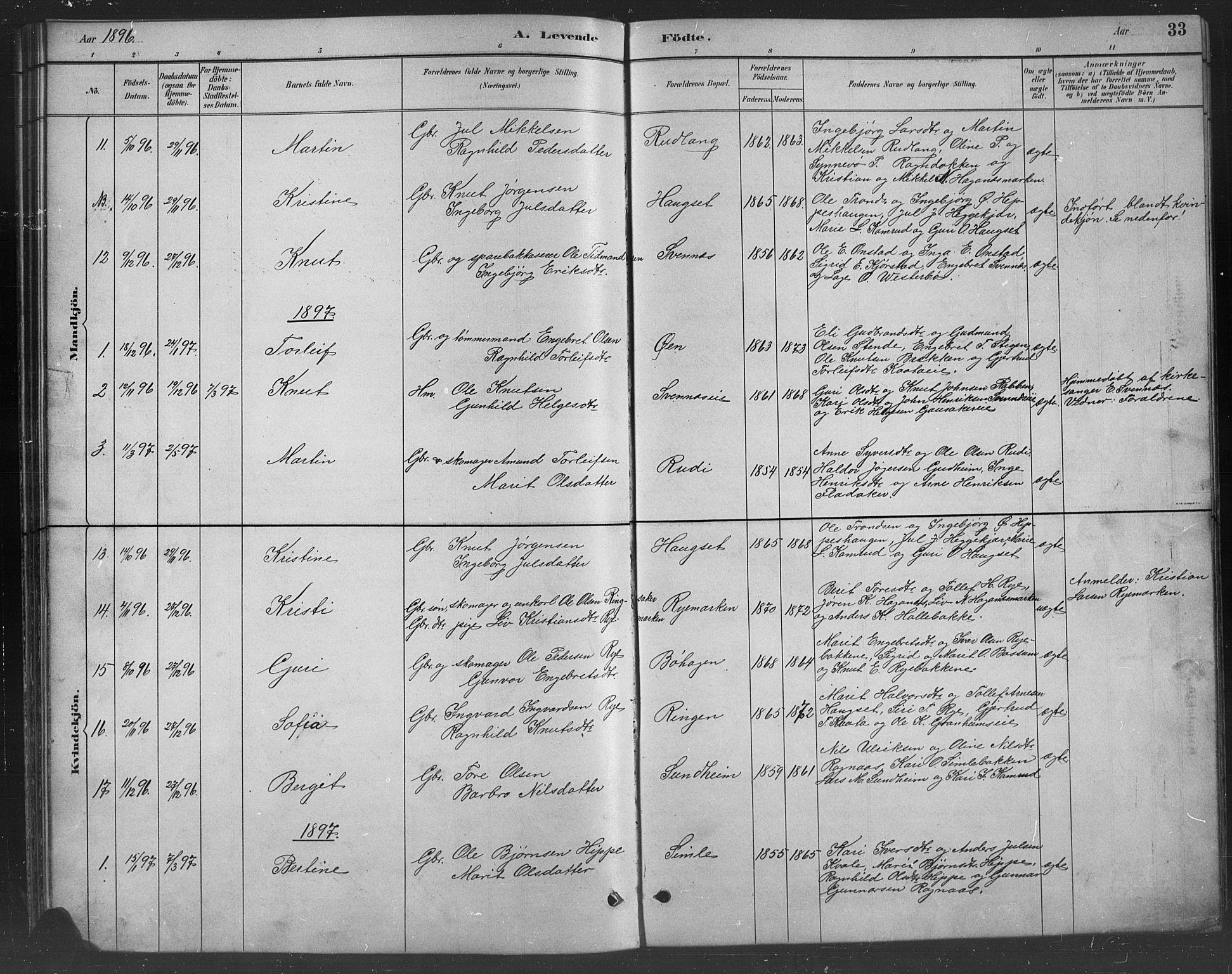 SAH, Nord-Aurdal prestekontor, Klokkerbok nr. 8, 1883-1916, s. 33