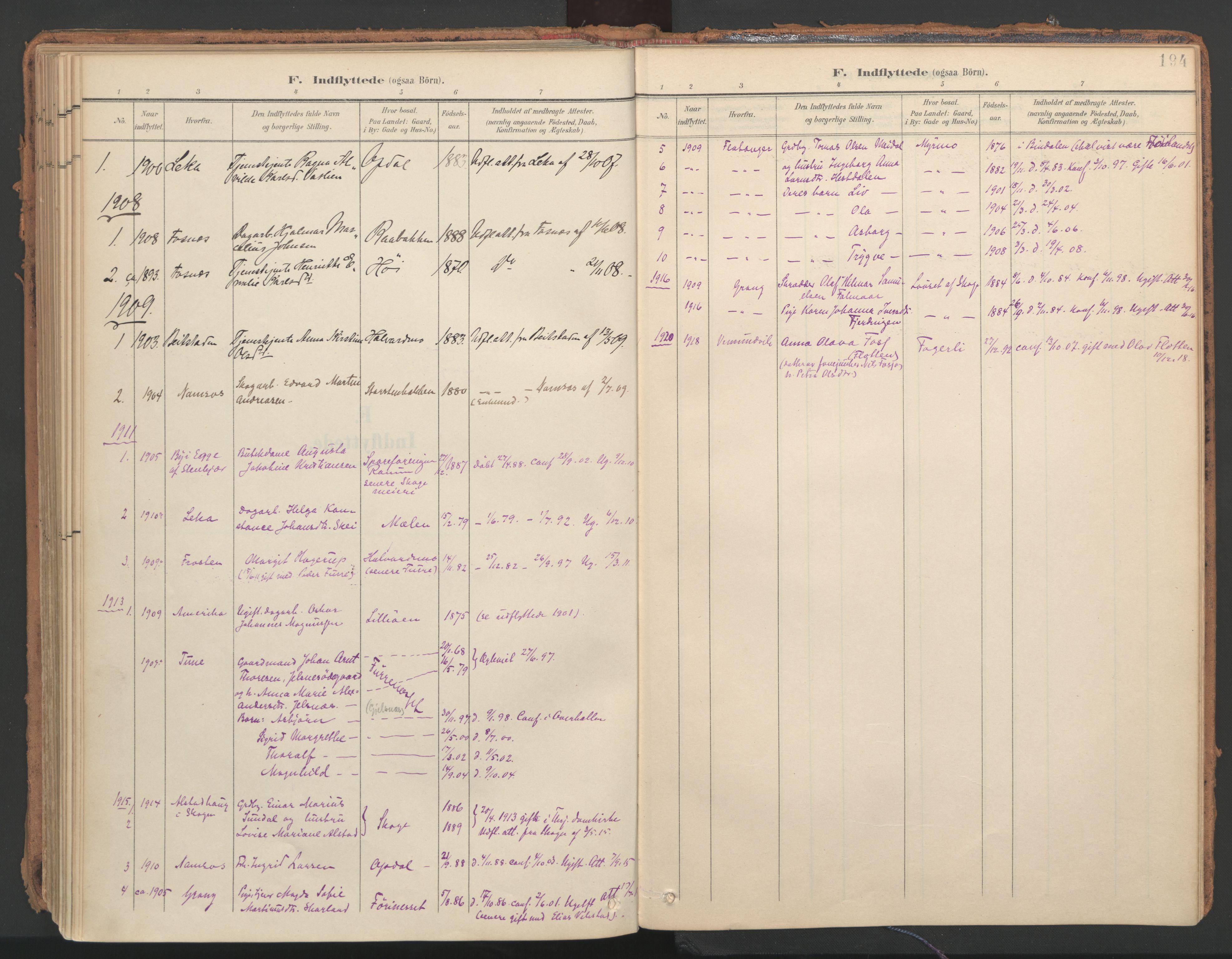SAT, Ministerialprotokoller, klokkerbøker og fødselsregistre - Nord-Trøndelag, 766/L0564: Ministerialbok nr. 767A02, 1900-1932, s. 194