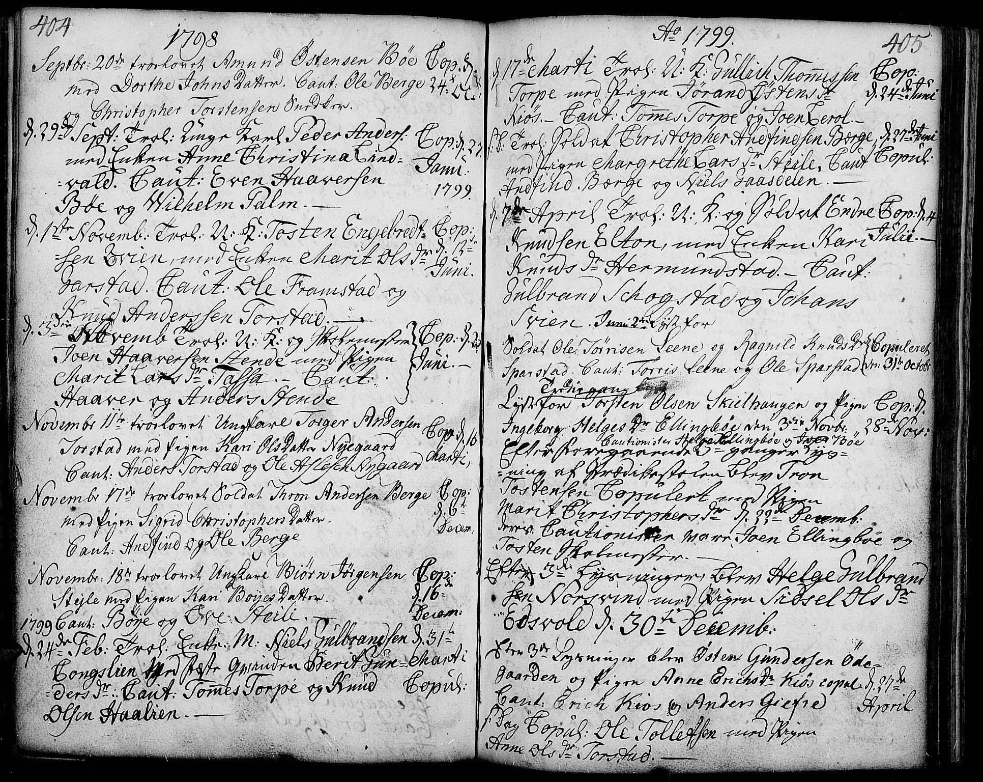 SAH, Vang prestekontor, Valdres, Ministerialbok nr. 2, 1796-1808, s. 404-405