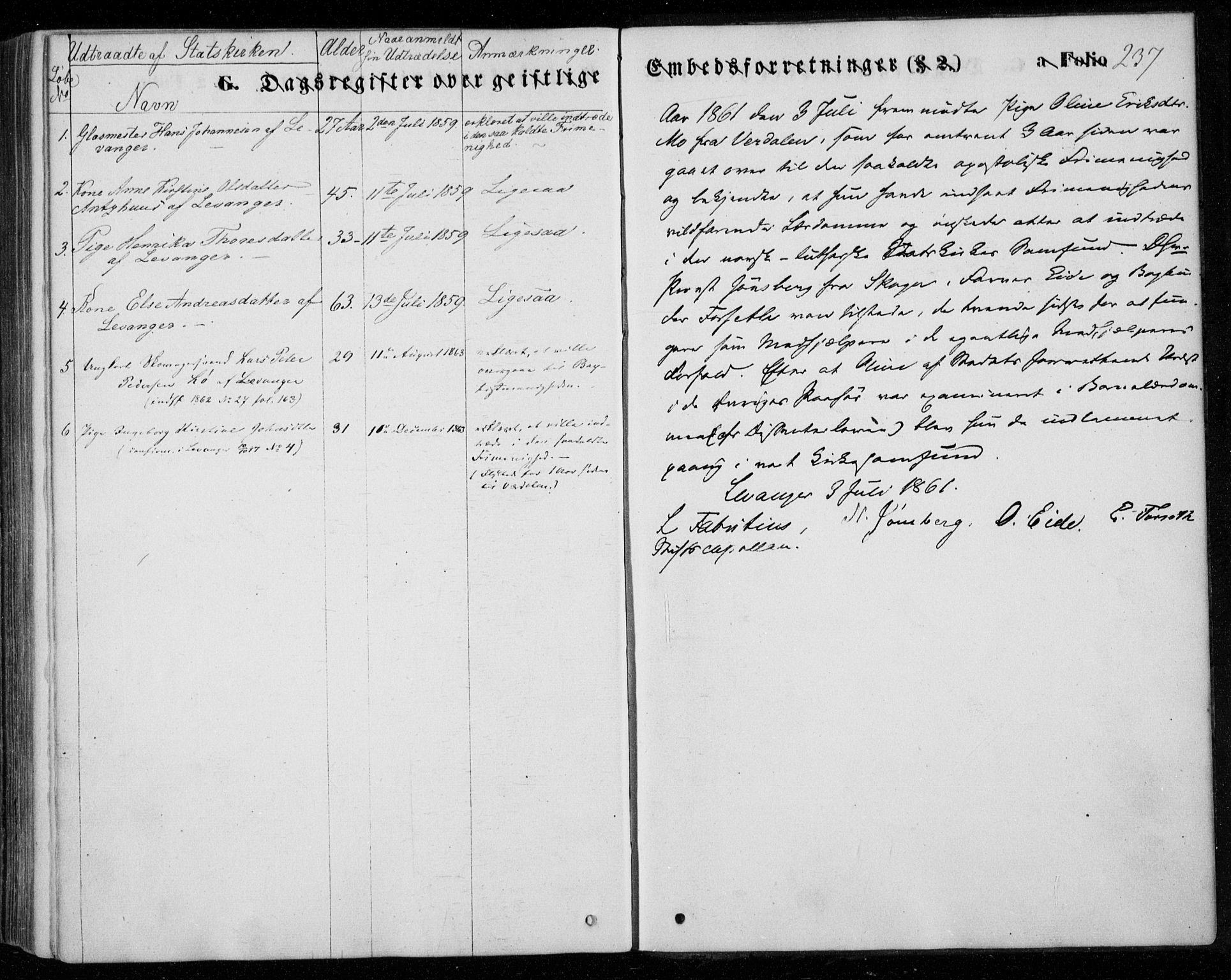 SAT, Ministerialprotokoller, klokkerbøker og fødselsregistre - Nord-Trøndelag, 720/L0184: Ministerialbok nr. 720A02 /1, 1855-1863, s. 237