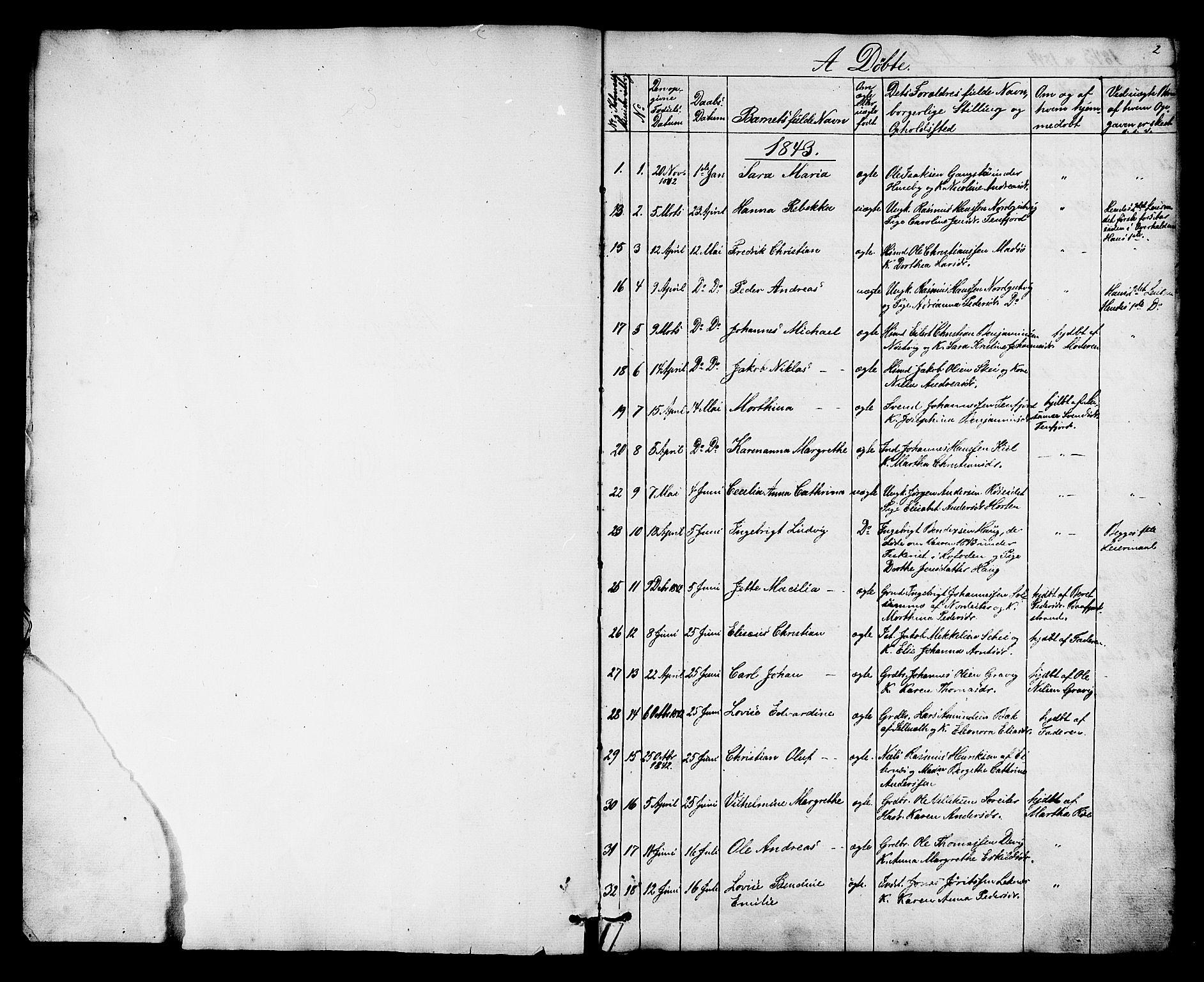 SAT, Ministerialprotokoller, klokkerbøker og fødselsregistre - Nord-Trøndelag, 788/L0695: Ministerialbok nr. 788A02, 1843-1862, s. 2