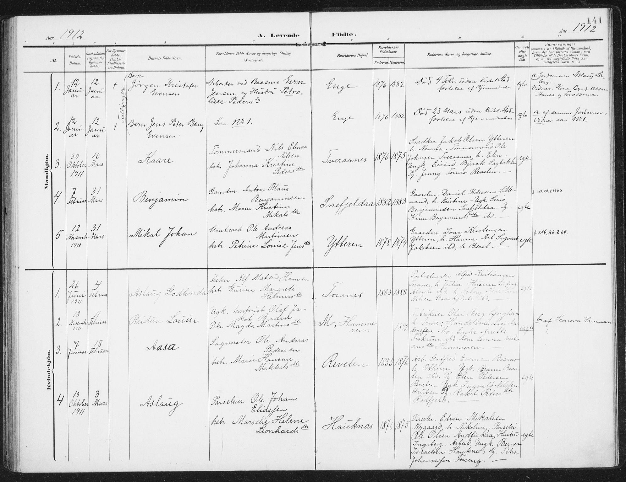 SAT, Ministerialprotokoller, klokkerbøker og fødselsregistre - Nordland, 827/L0402: Ministerialbok nr. 827A14, 1903-1912, s. 141