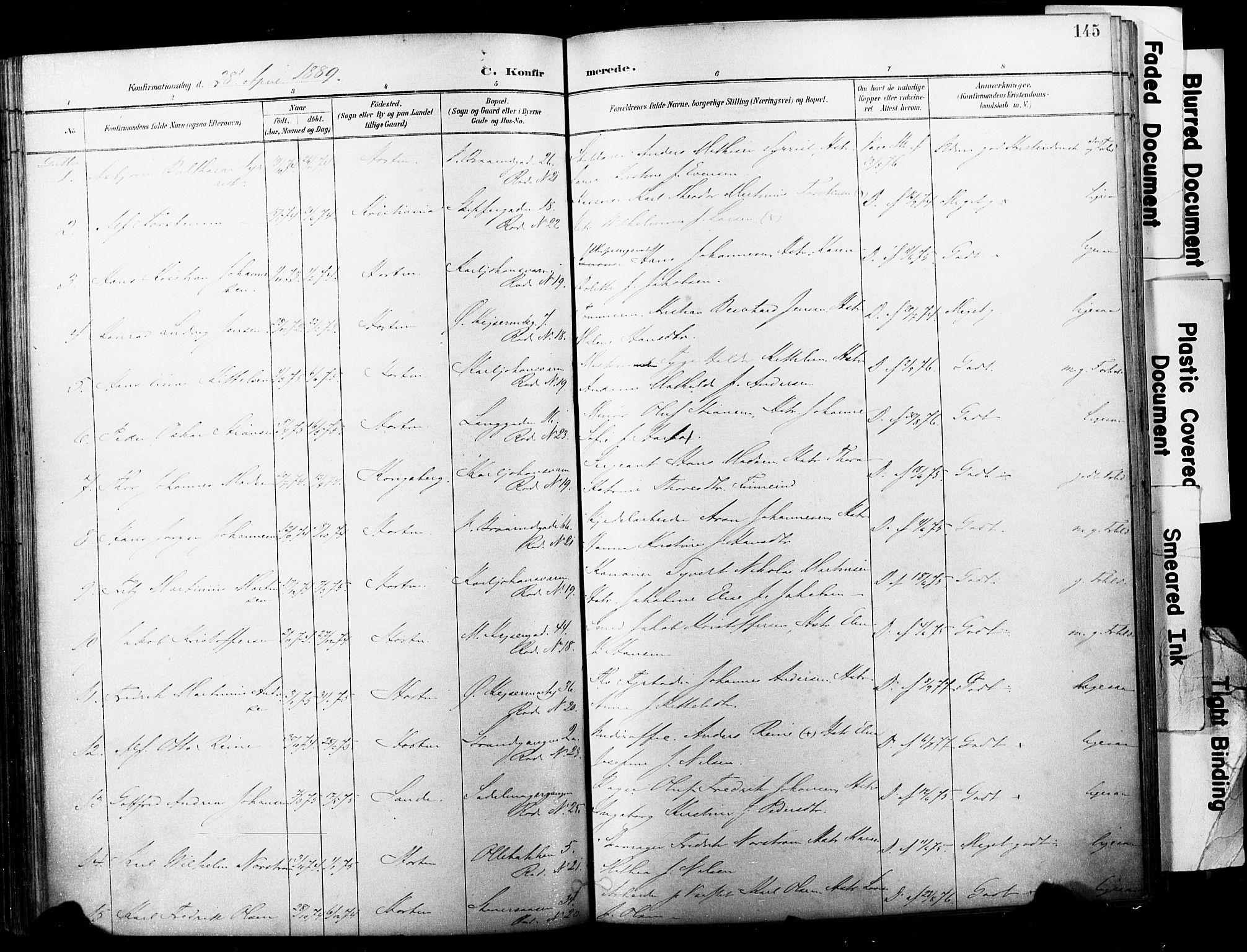 SAKO, Horten kirkebøker, F/Fa/L0004: Ministerialbok nr. 4, 1888-1895, s. 145