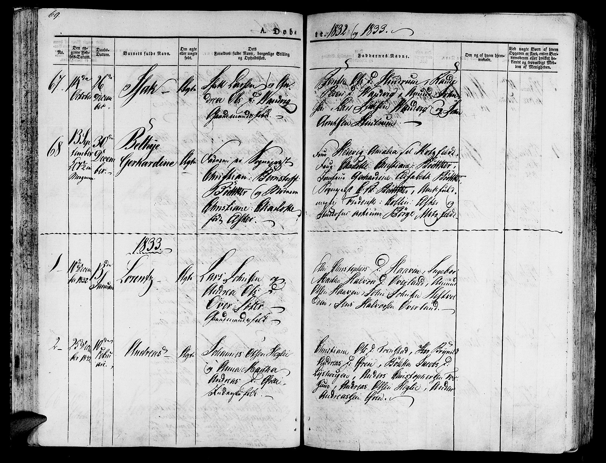 SAT, Ministerialprotokoller, klokkerbøker og fødselsregistre - Nord-Trøndelag, 701/L0006: Ministerialbok nr. 701A06, 1825-1841, s. 69
