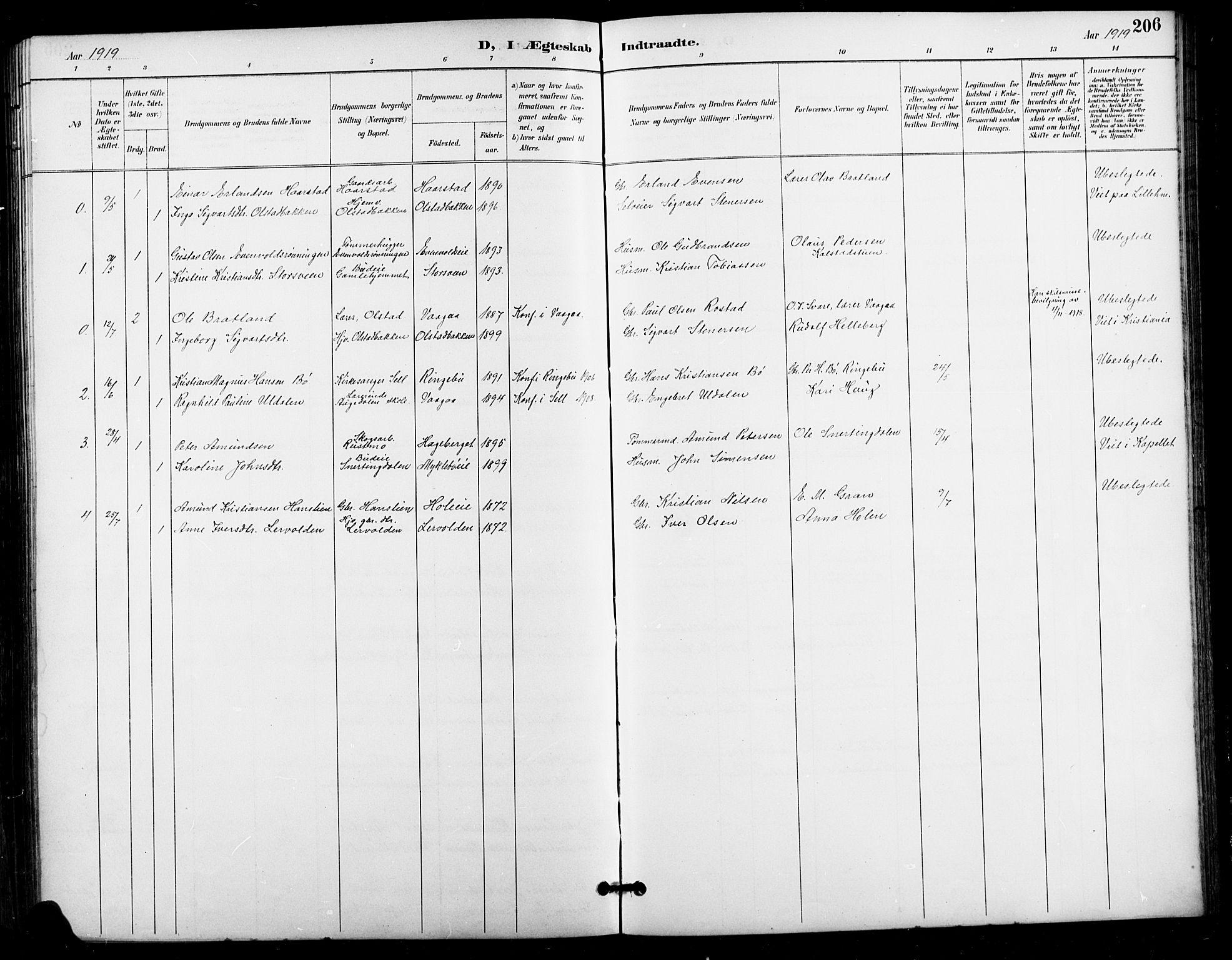 SAH, Vestre Gausdal prestekontor, Klokkerbok nr. 3, 1896-1925, s. 206