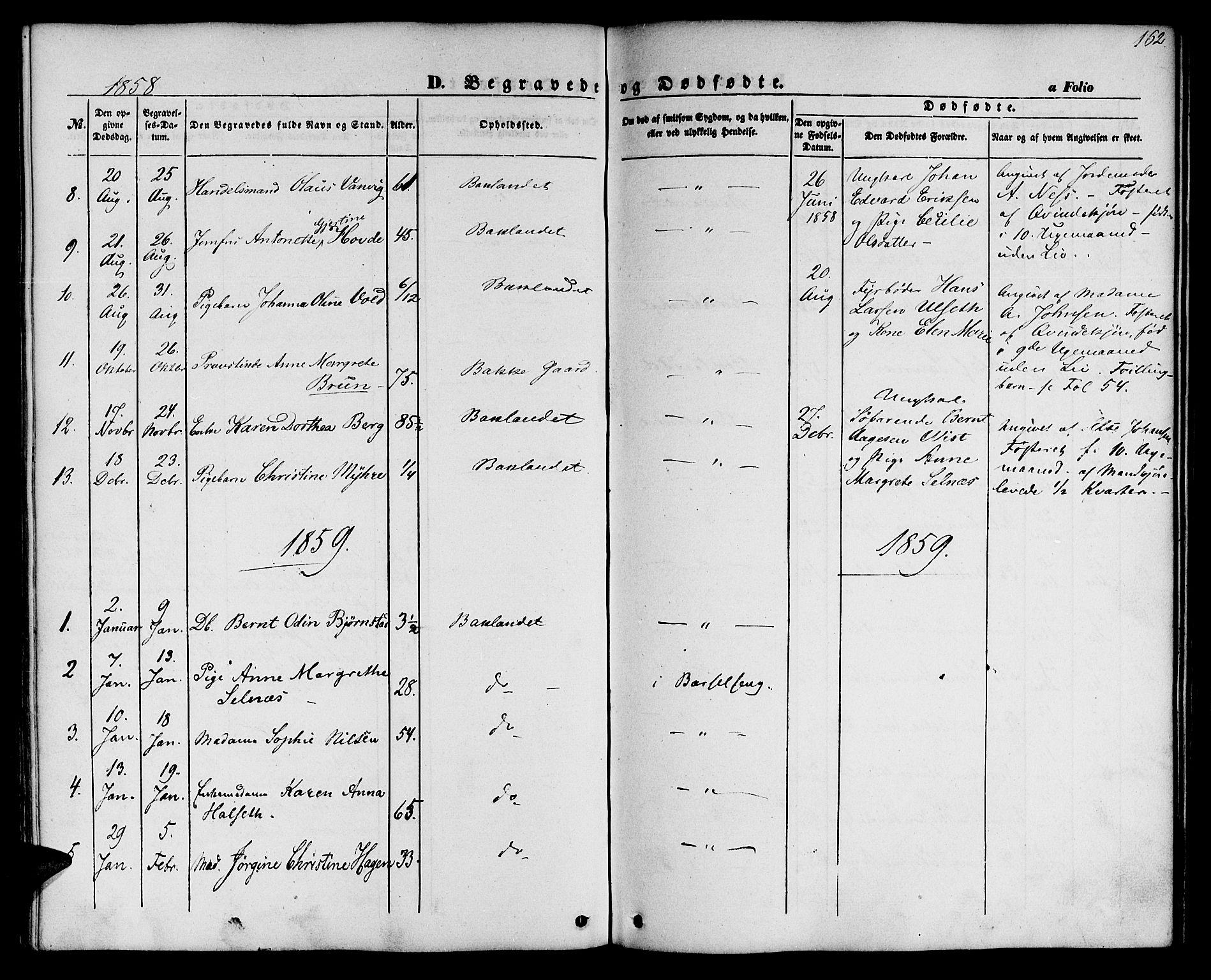 SAT, Ministerialprotokoller, klokkerbøker og fødselsregistre - Sør-Trøndelag, 604/L0184: Ministerialbok nr. 604A05, 1851-1860, s. 162