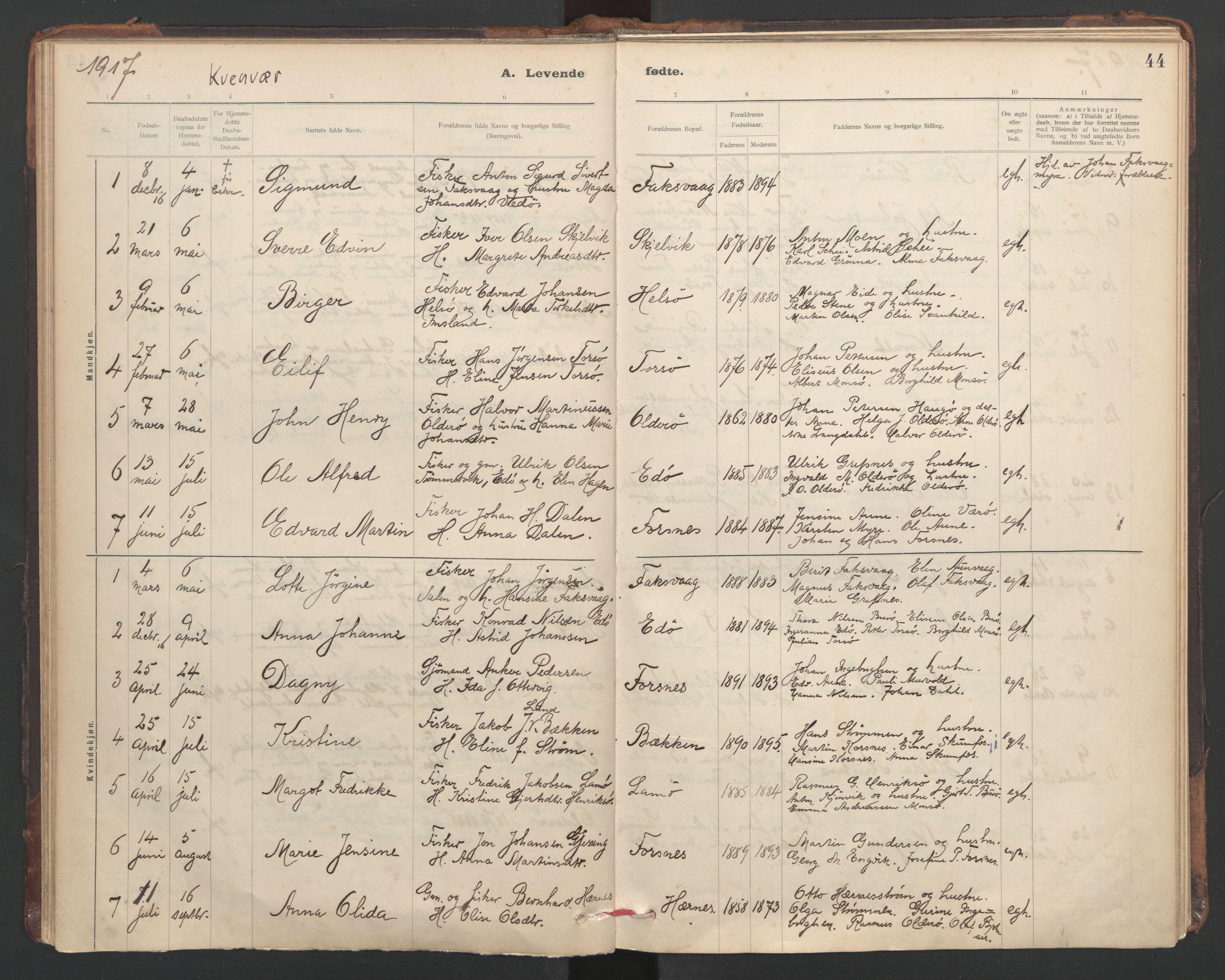 SAT, Ministerialprotokoller, klokkerbøker og fødselsregistre - Sør-Trøndelag, 635/L0552: Ministerialbok nr. 635A02, 1899-1919, s. 44