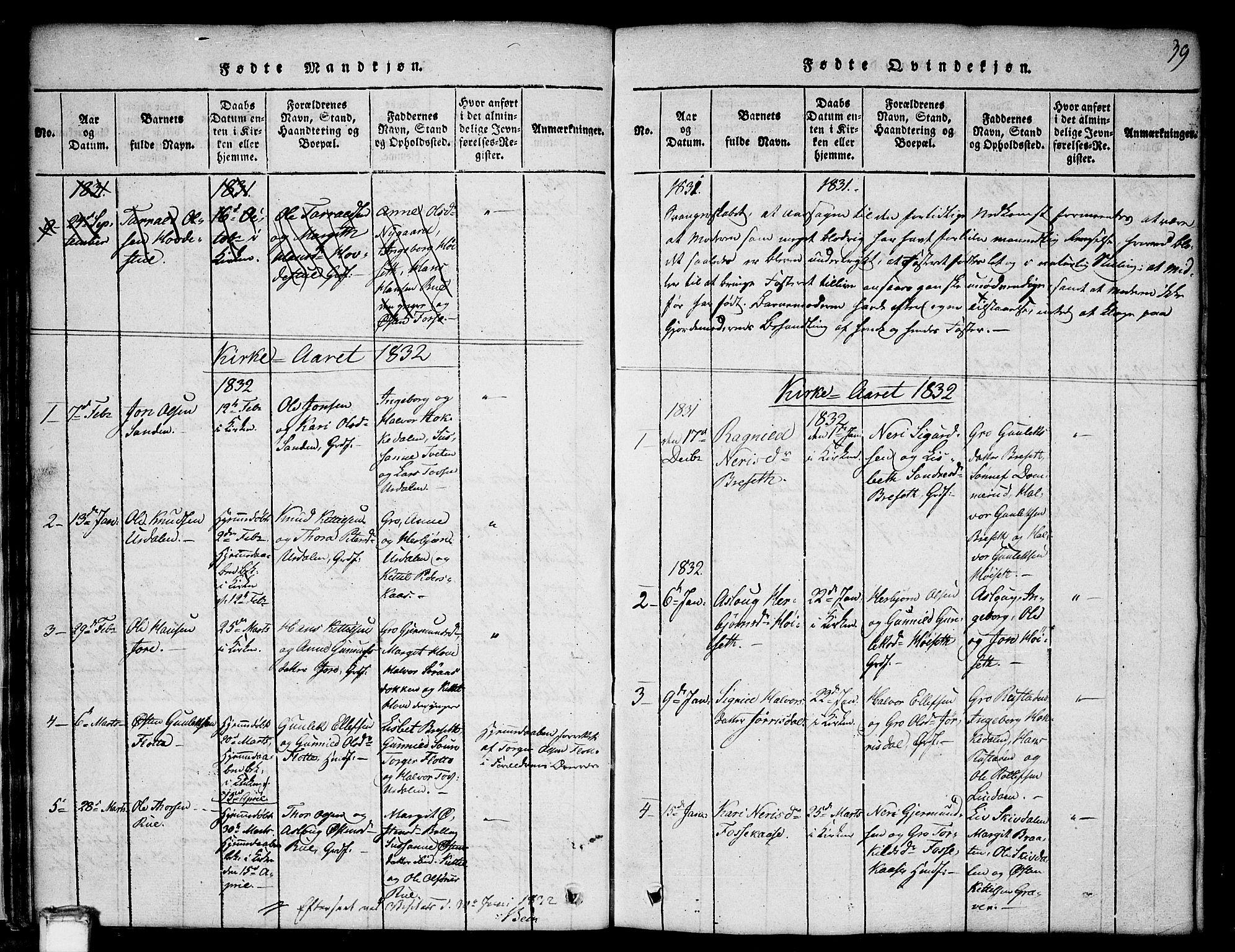 SAKO, Gransherad kirkebøker, G/Gb/L0001: Klokkerbok nr. II 1, 1815-1860, s. 39