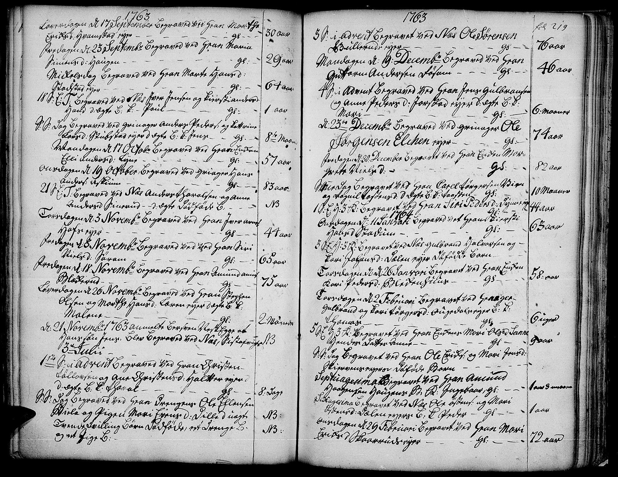 SAH, Gran prestekontor, Ministerialbok nr. 4, 1759-1775, s. 219