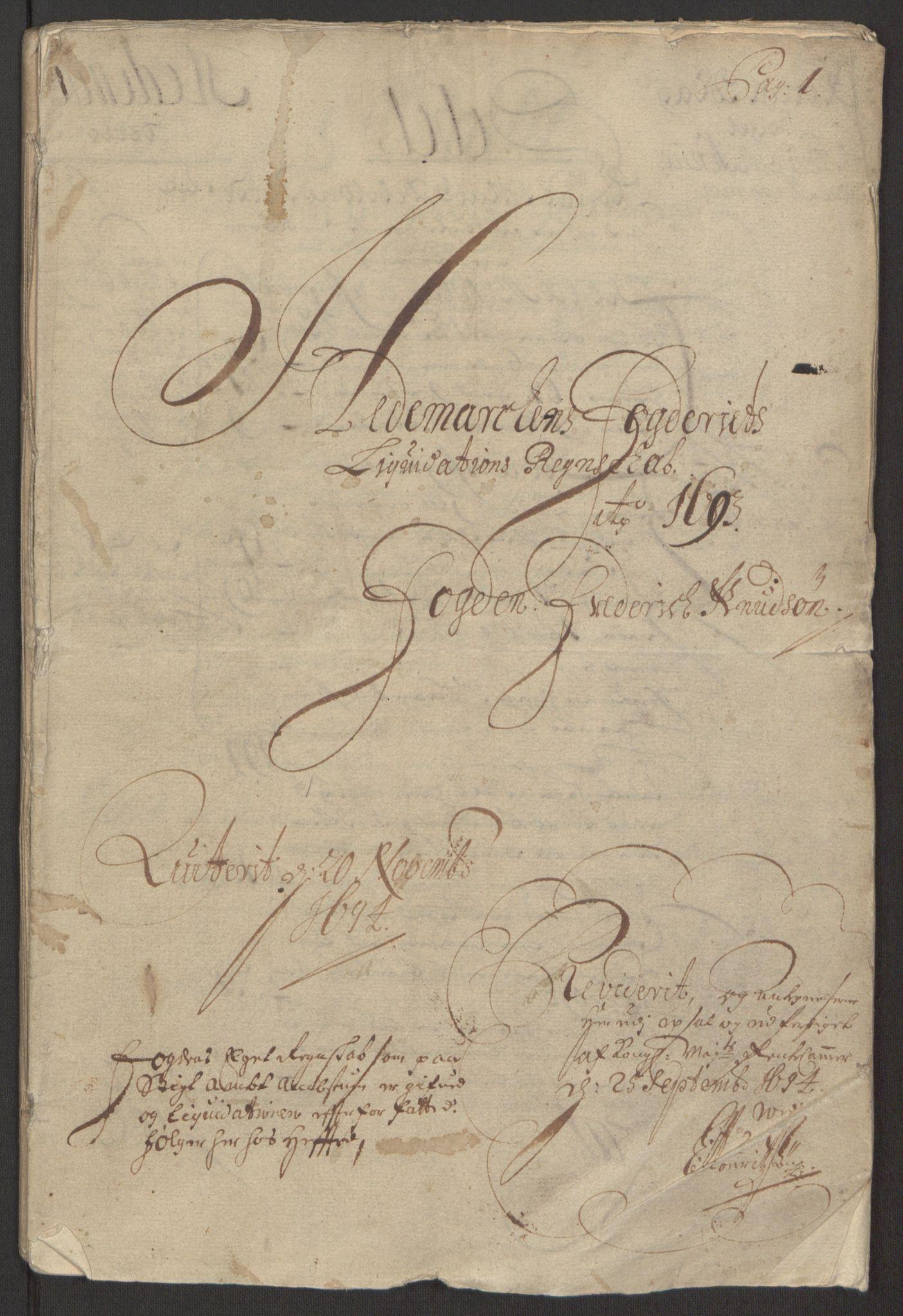 RA, Rentekammeret inntil 1814, Reviderte regnskaper, Fogderegnskap, R16/L1034: Fogderegnskap Hedmark, 1693, s. 3