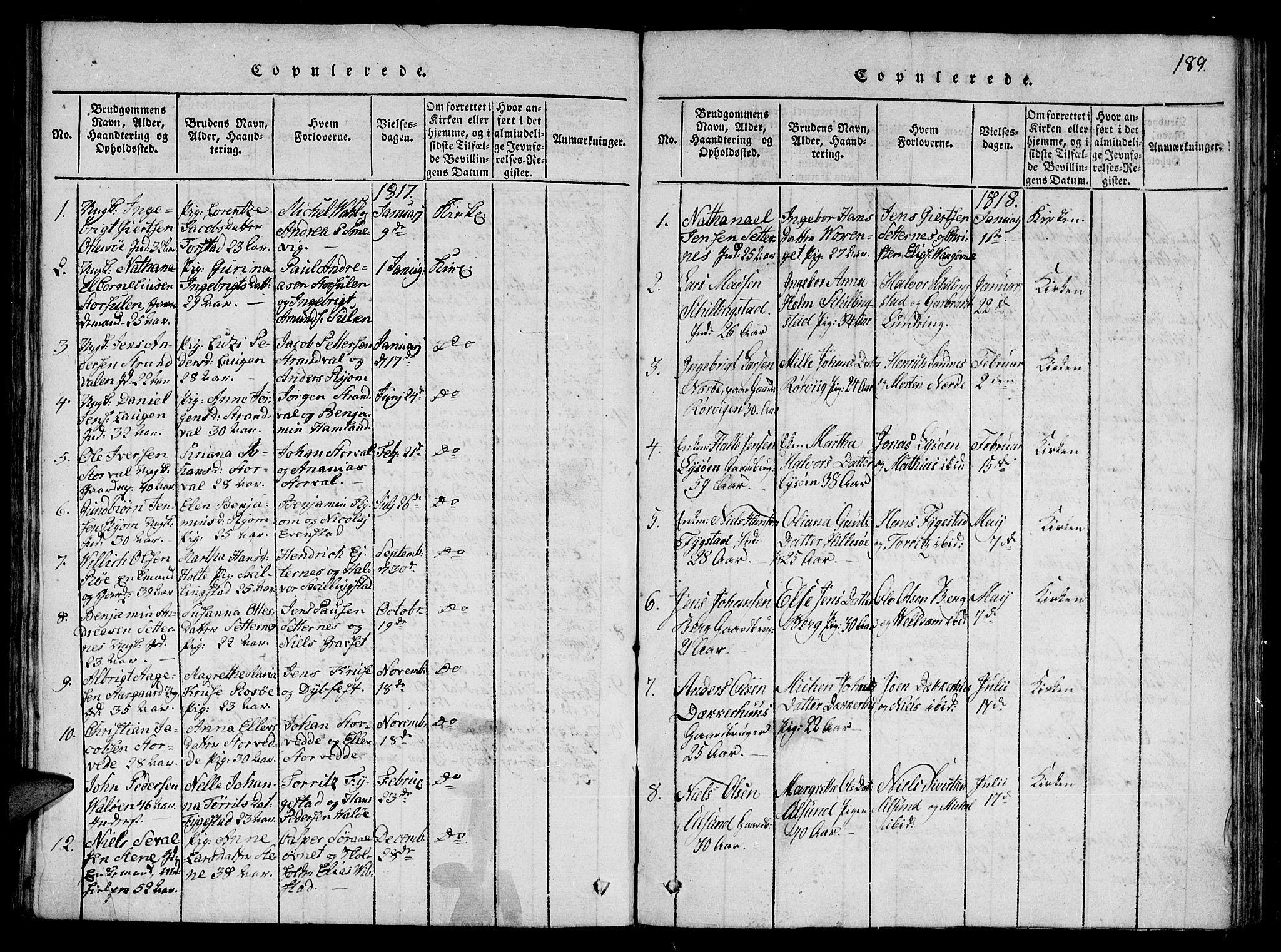 SAT, Ministerialprotokoller, klokkerbøker og fødselsregistre - Nord-Trøndelag, 784/L0667: Ministerialbok nr. 784A03 /1, 1816-1829, s. 189