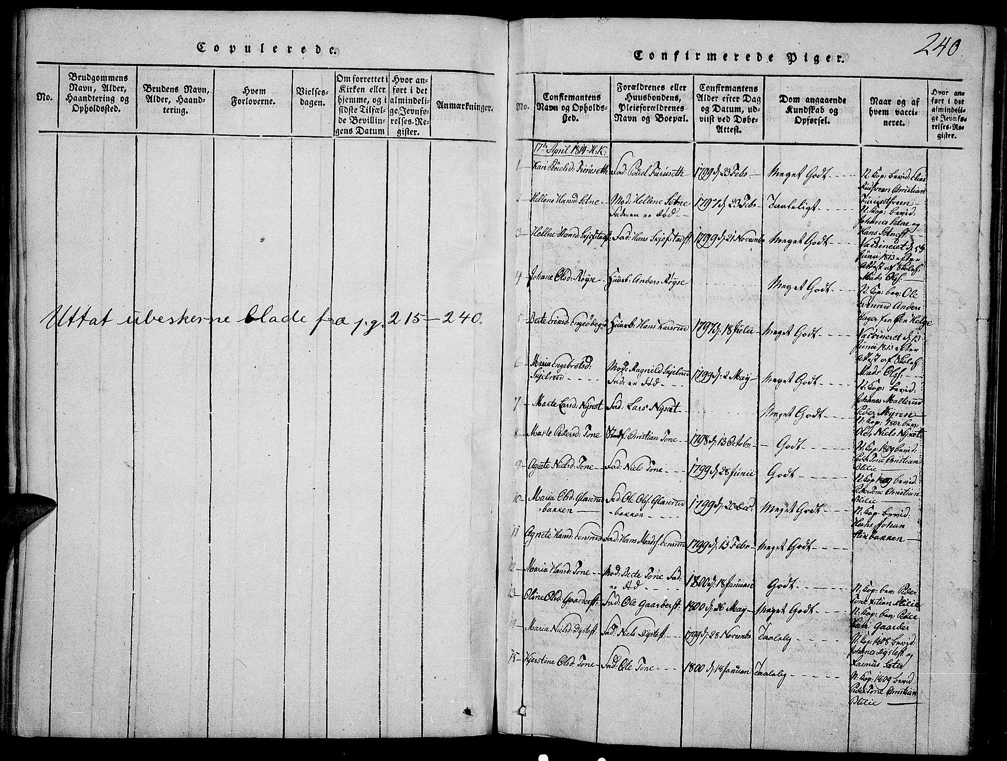 SAH, Toten prestekontor, Ministerialbok nr. 9, 1814-1820, s. 240