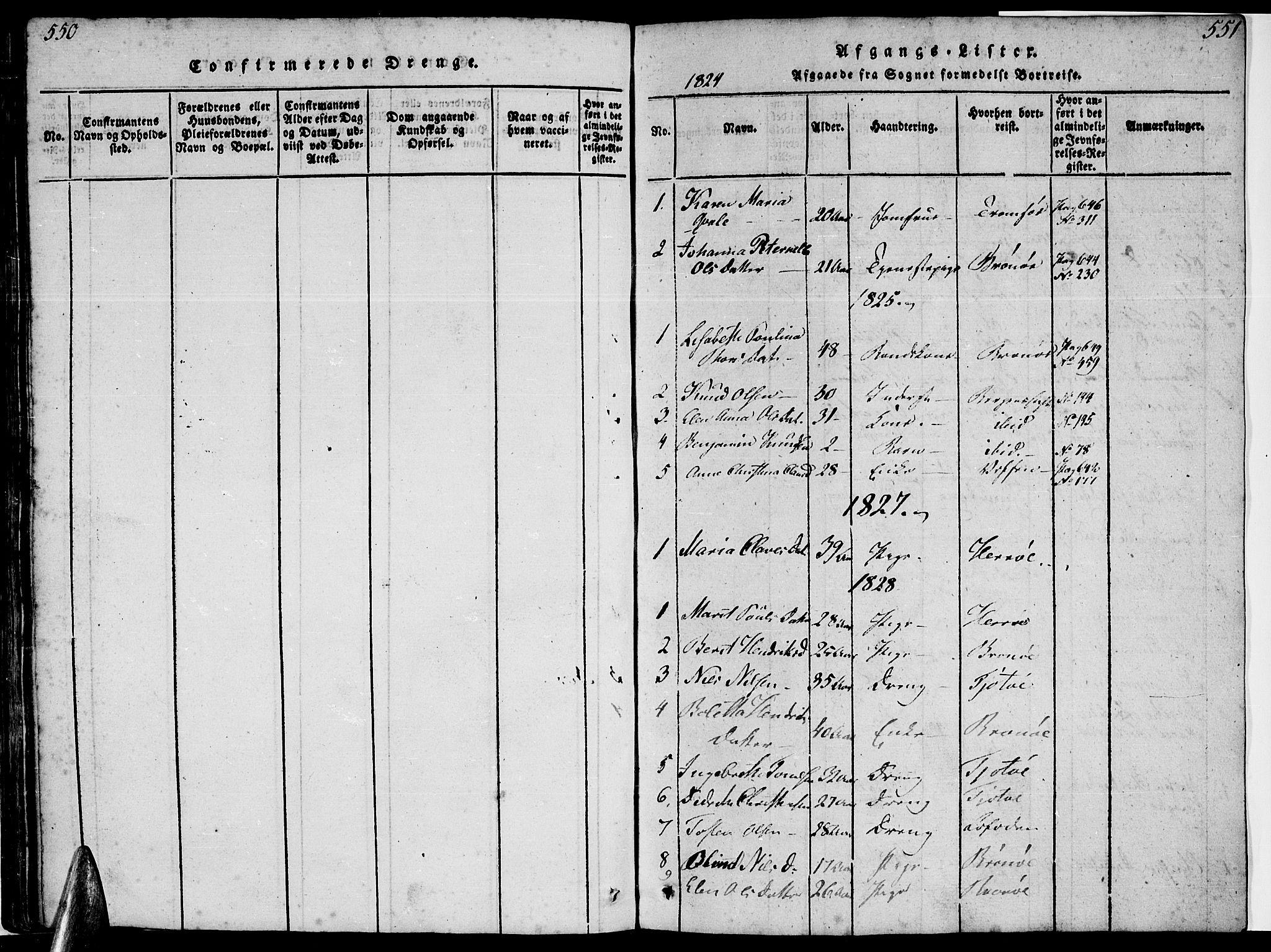 SAT, Ministerialprotokoller, klokkerbøker og fødselsregistre - Nordland, 816/L0239: Ministerialbok nr. 816A05, 1820-1845, s. 550-551