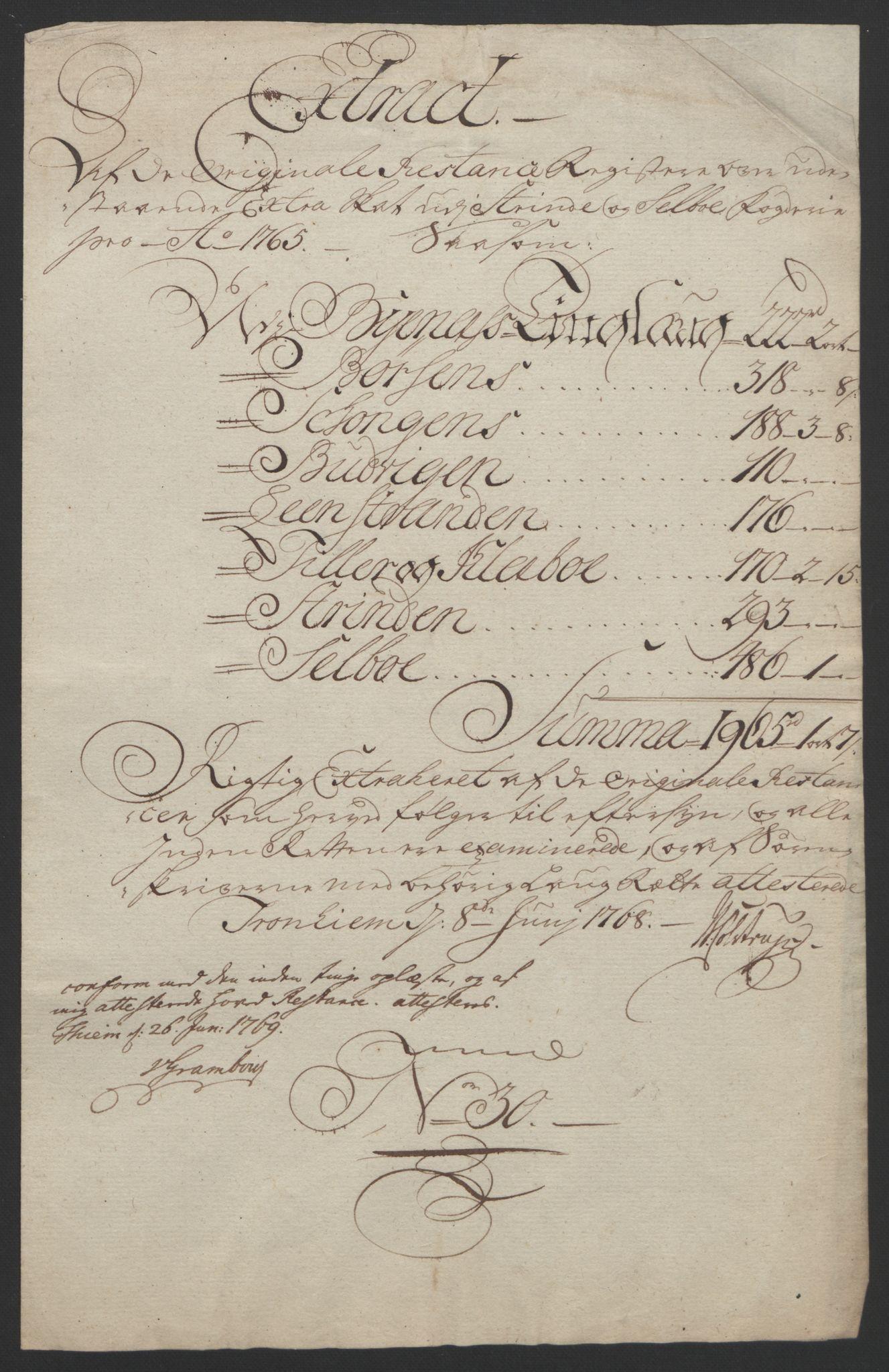 RA, Rentekammeret inntil 1814, Reviderte regnskaper, Fogderegnskap, R61/L4180: Ekstraskatten Strinda og Selbu, 1762-1767, s. 229