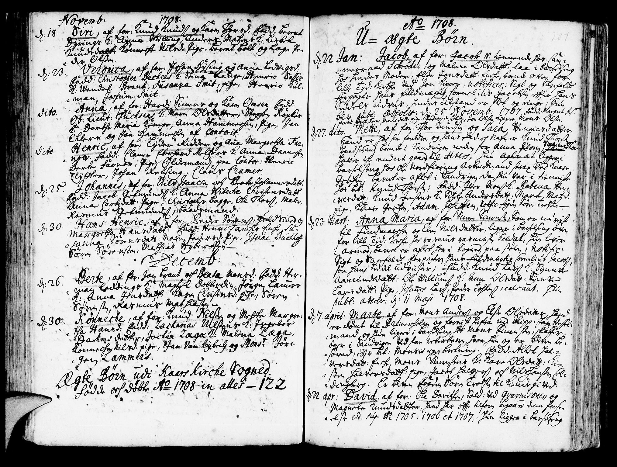 SAB, Korskirken Sokneprestembete, H/Haa/L0003: Ministerialbok nr. A 3, 1698-1719, s. 201