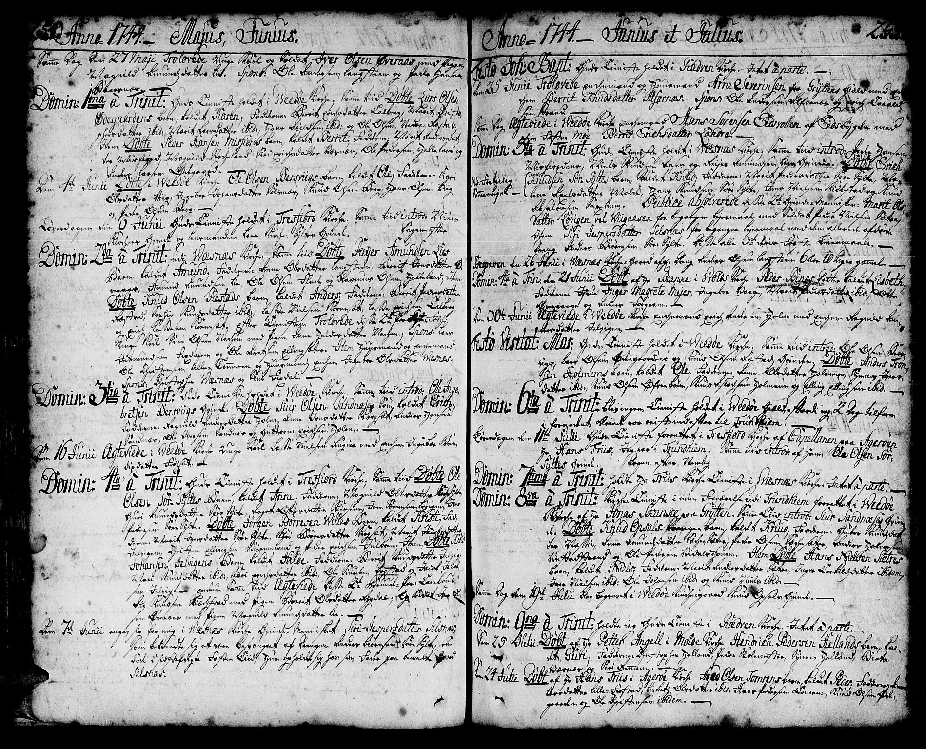 SAT, Ministerialprotokoller, klokkerbøker og fødselsregistre - Møre og Romsdal, 547/L0599: Ministerialbok nr. 547A01, 1721-1764, s. 254-255