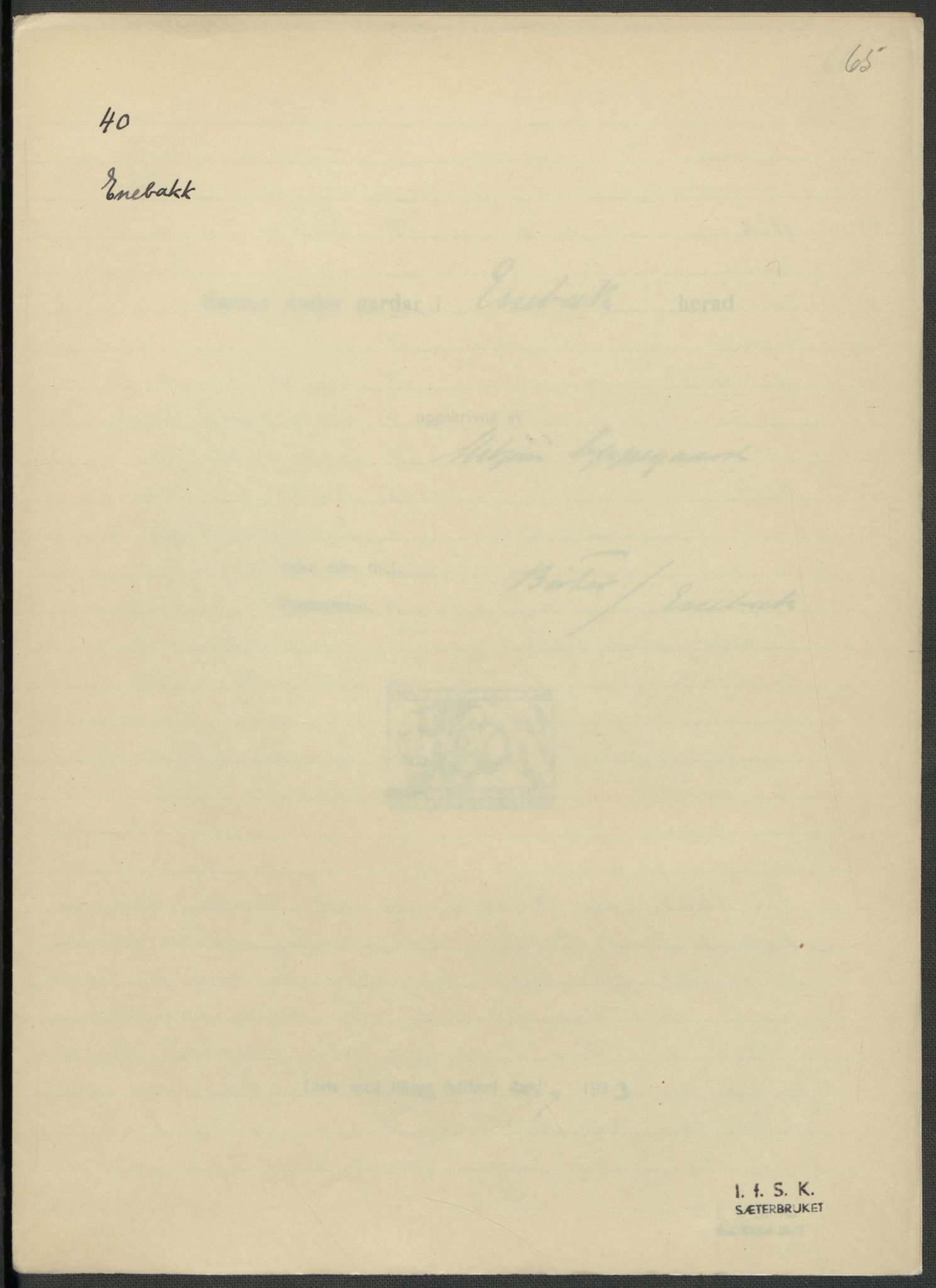 RA, Instituttet for sammenlignende kulturforskning, F/Fc/L0002: Eske B2:, 1932-1936, s. 65