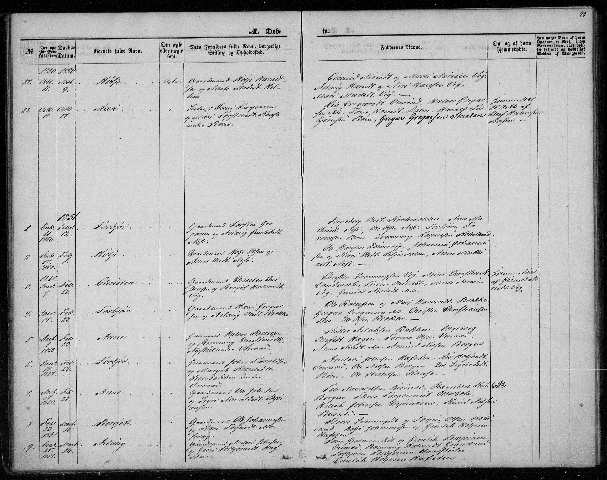 SAKO, Gransherad kirkebøker, F/Fa/L0002: Ministerialbok nr. I 2, 1844-1859, s. 20