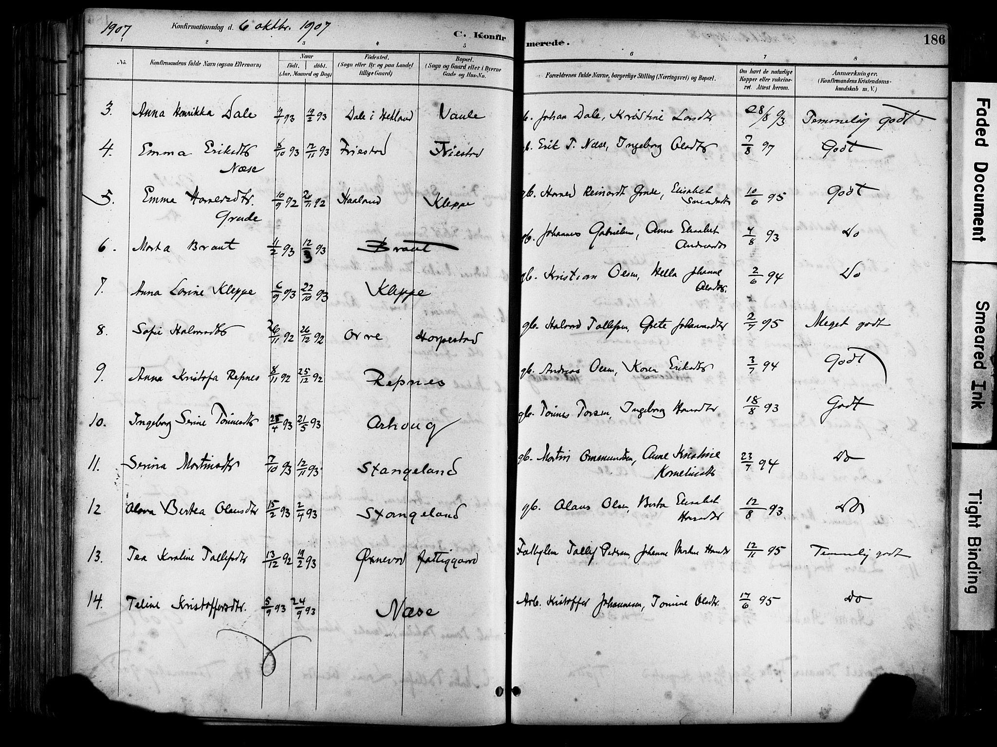 SAST, Klepp sokneprestkontor, 30BA/L0009: Ministerialbok nr. A 7, 1886-1915, s. 186