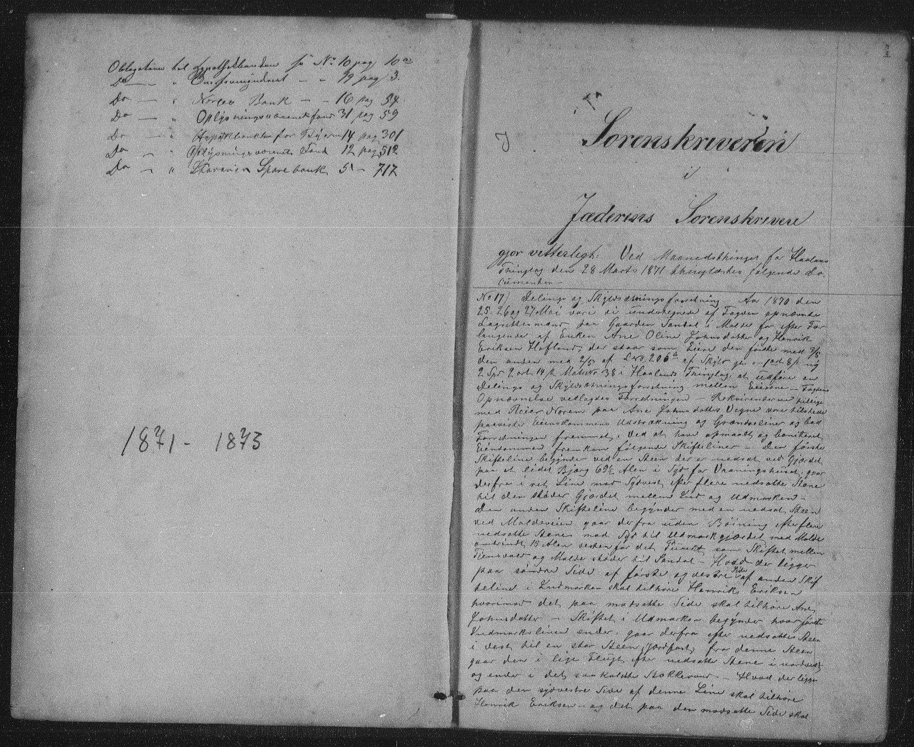 SAST, Jæren sorenskriveri, 4/41/41BF/L0002: Pantebok nr. 10, 1871-1873, s. 0-1