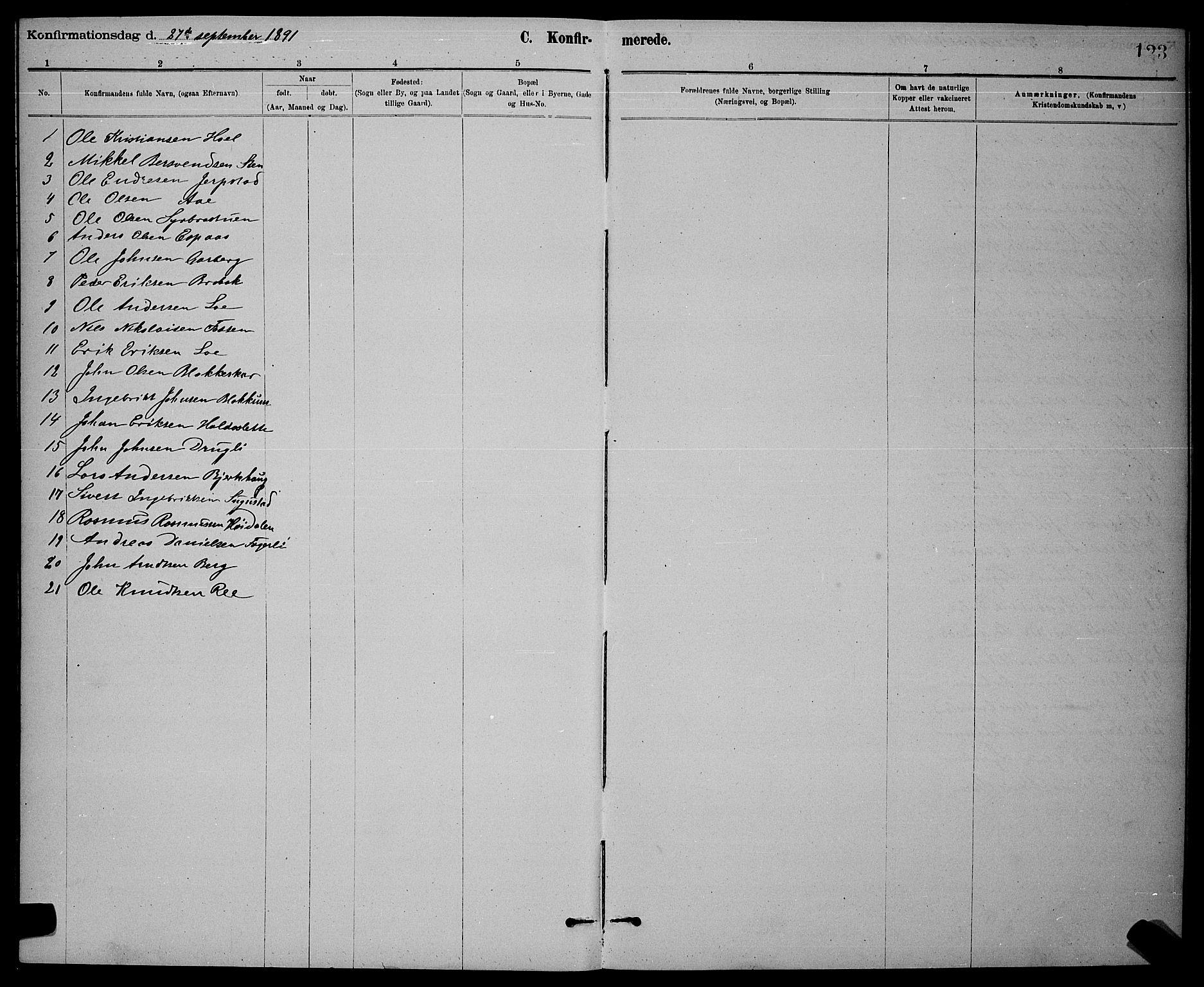 SAT, Ministerialprotokoller, klokkerbøker og fødselsregistre - Sør-Trøndelag, 672/L0863: Klokkerbok nr. 672C02, 1888-1901, s. 123