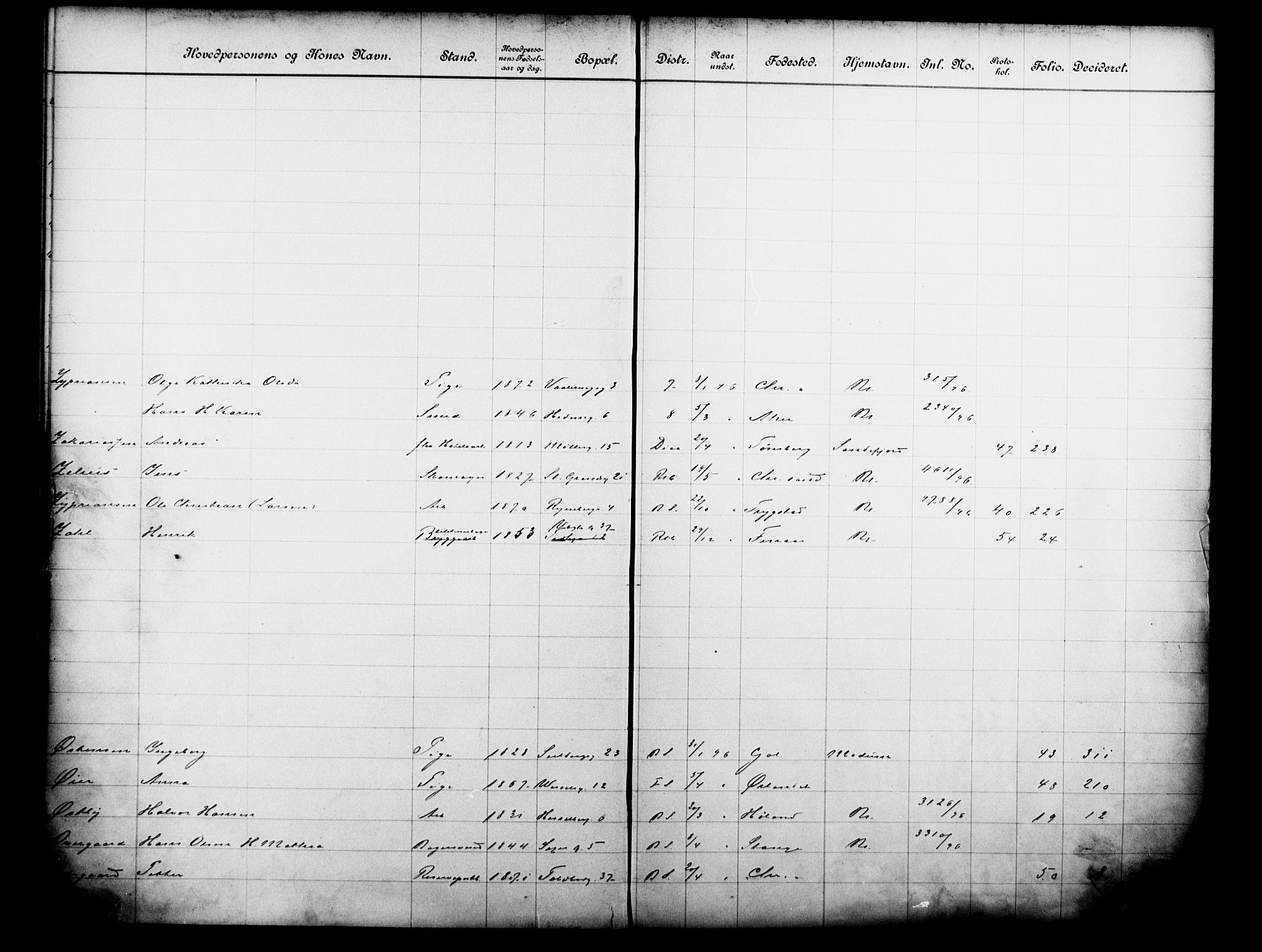 OBA, Fattigvesenet, Fb/L0016: Hjemstavnsregister, 1896, s. 179