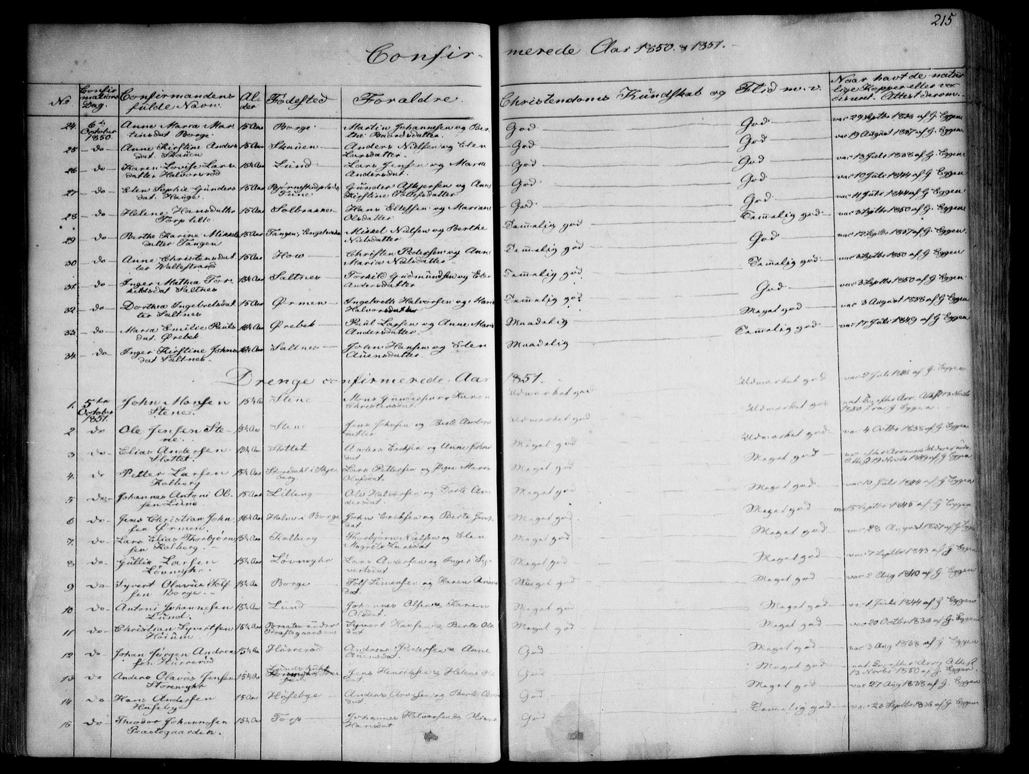 SAO, Onsøy prestekontor Kirkebøker, F/Fa/L0003: Ministerialbok nr. I 3, 1841-1860, s. 215